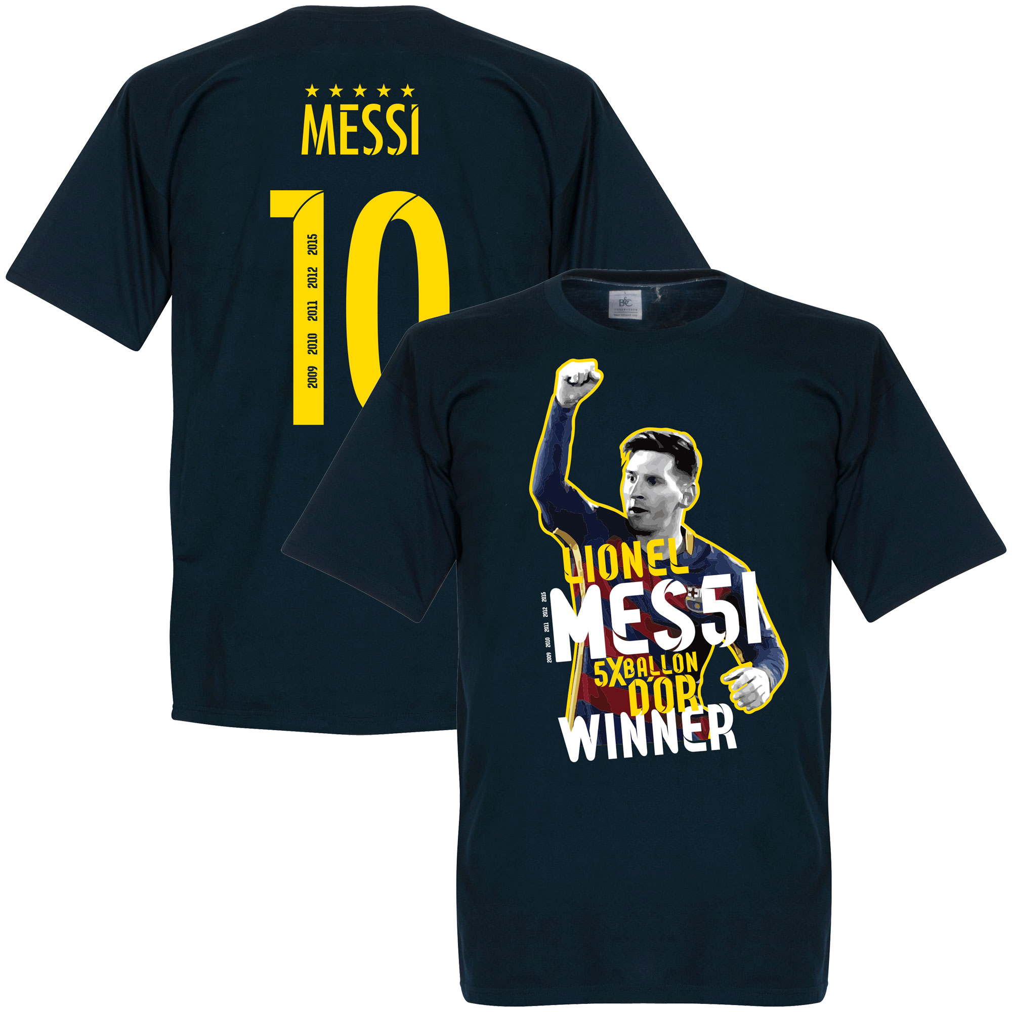 Messi No 10 Five Time Ballon Winner KIDS Tee - Navy - 4