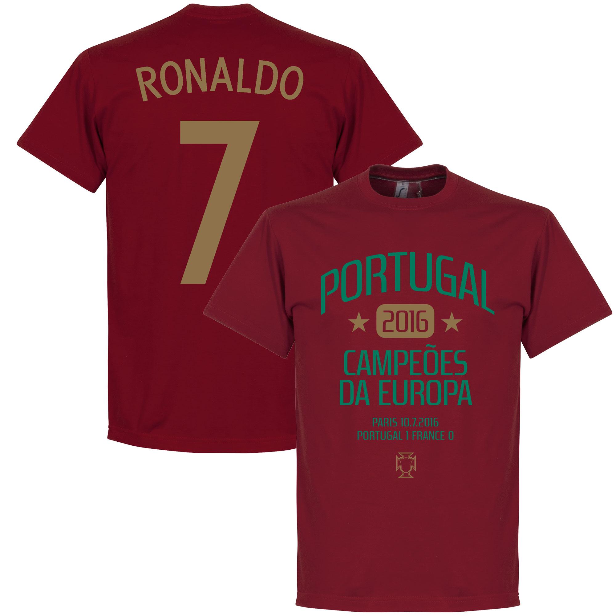 Portugal European Champions 2016 Ronaldo Tee - Deep Red - XL