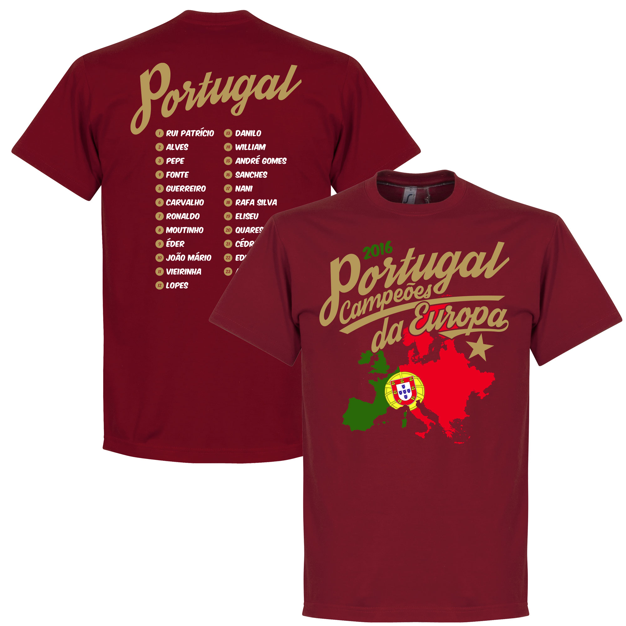 Portugal Campeóes Da Europa 2016 Road To Victory Tee - Deep Red - M