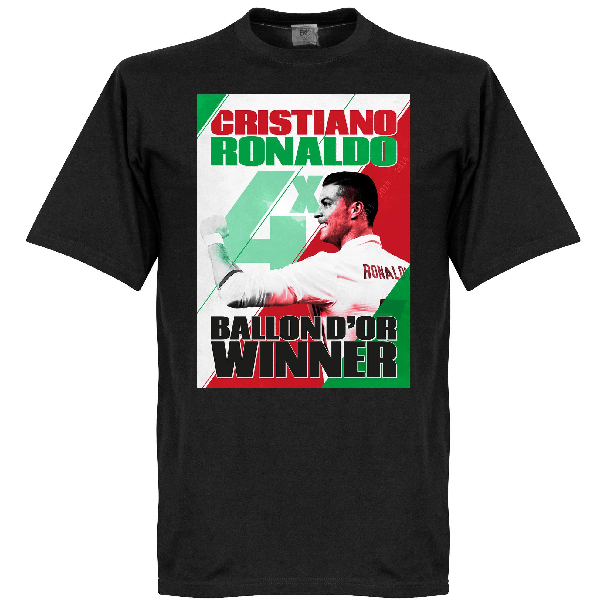 Ronaldo 4 Times Ballon d'Or Portugal WInners Tee - Black - XXXXL