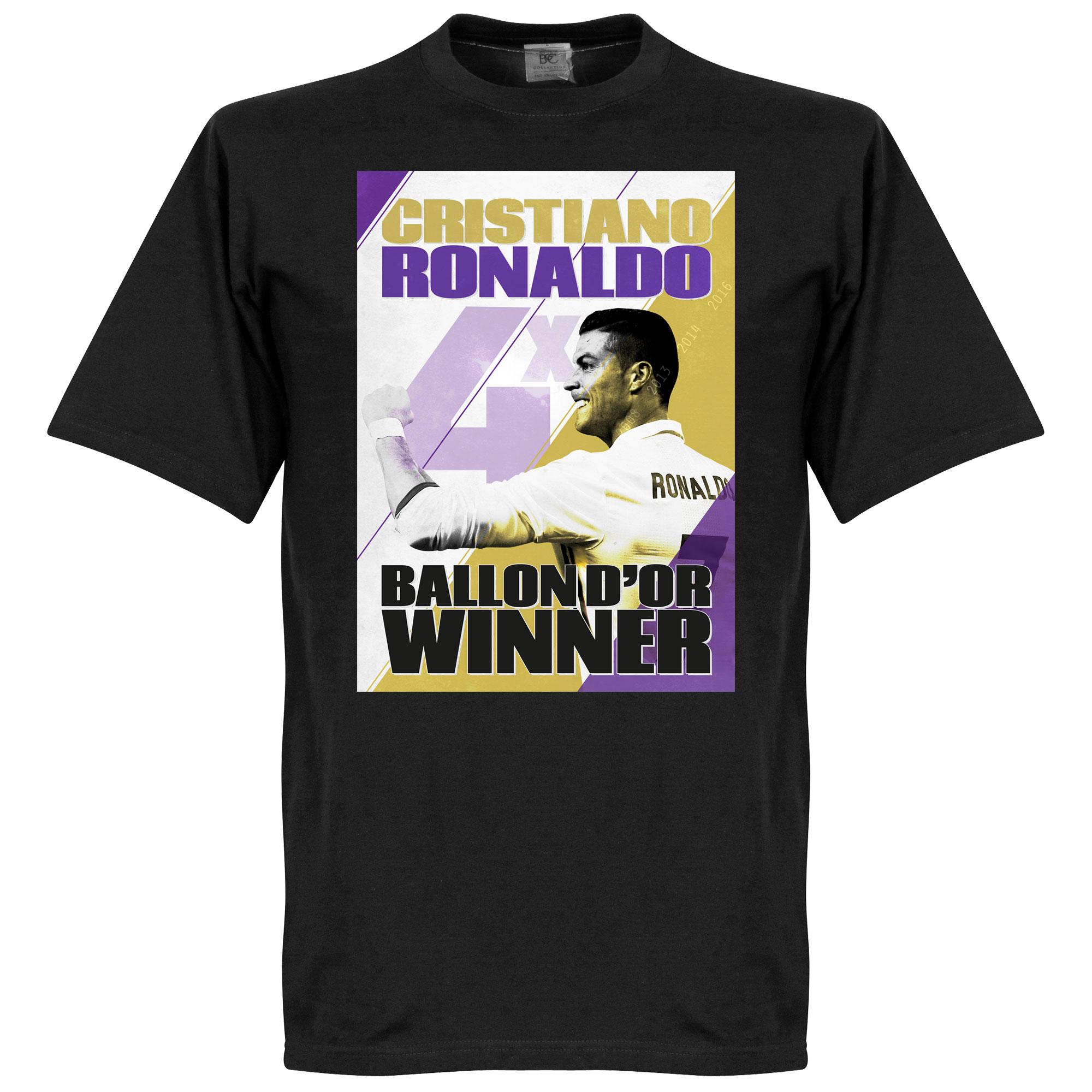Ronaldo 4 Times Ballon d'Or Winners Madrid Tee - Black - XS