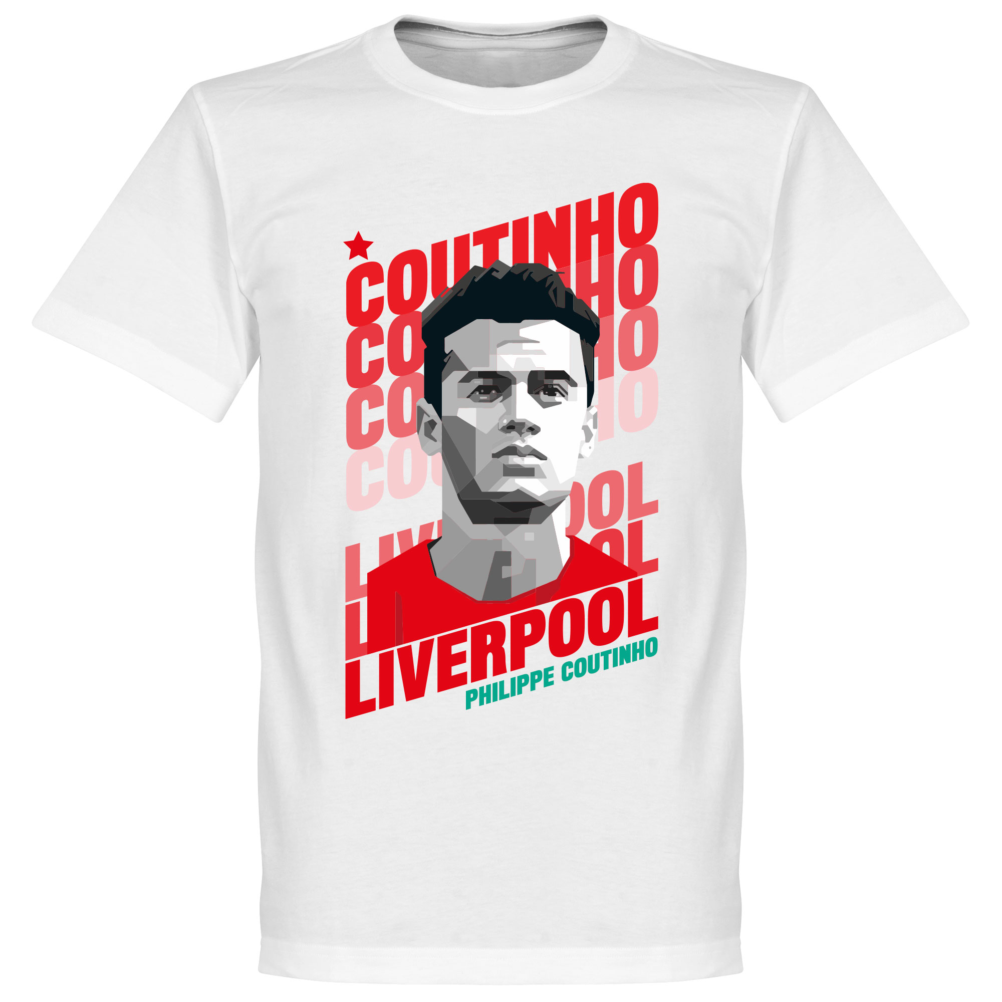 Coutinho Liverpool Portrait Tee - White - XL