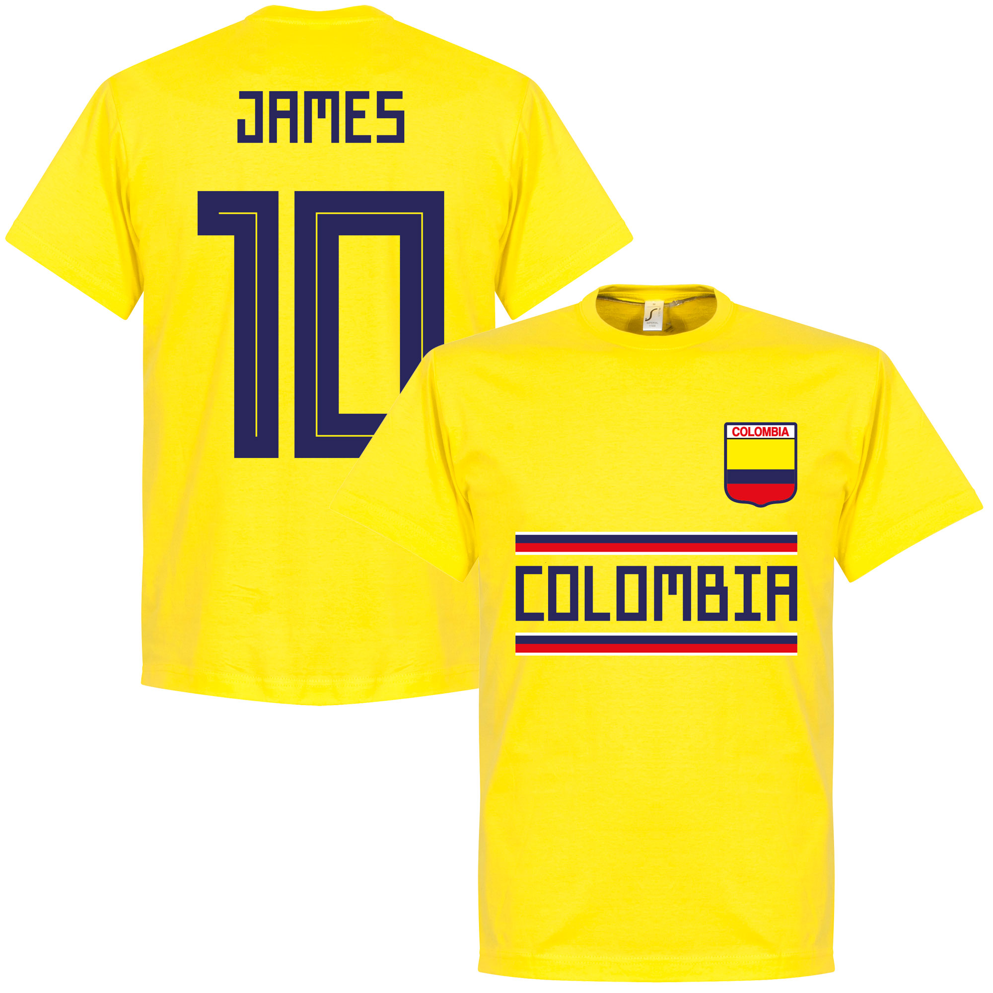 Colombia James 10 Team T-Shirt - Yellow - XXL