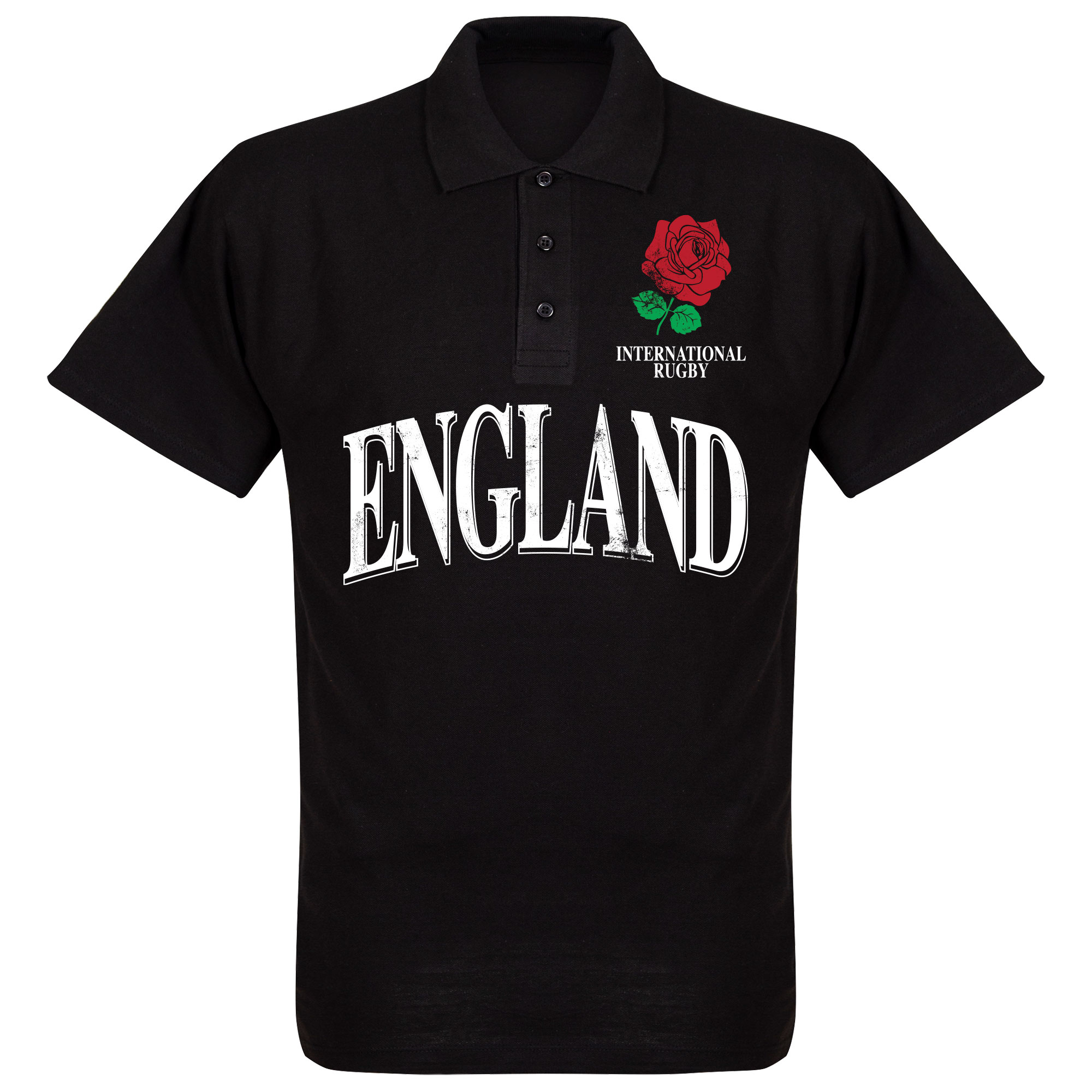 Engeland Rose International Rugby Polo Shirt - Zwart - L