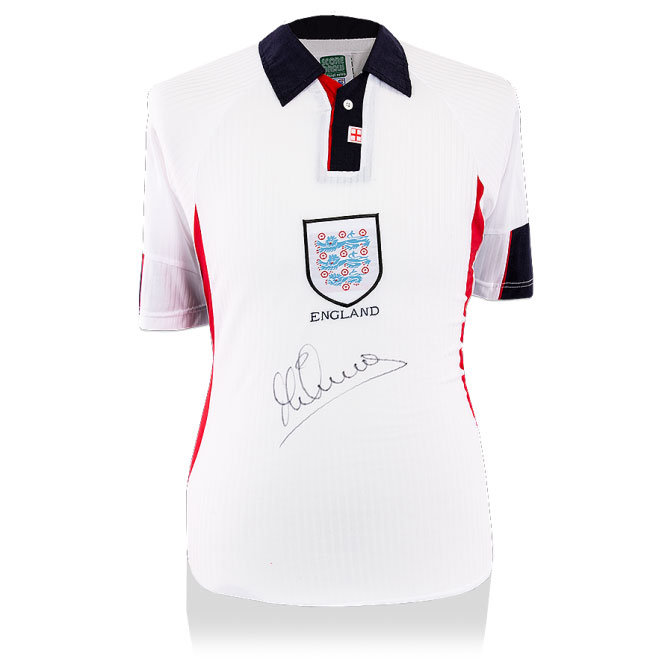 Michael Owen Signed England 1998 Home Retro Shirt (Front Signed)
