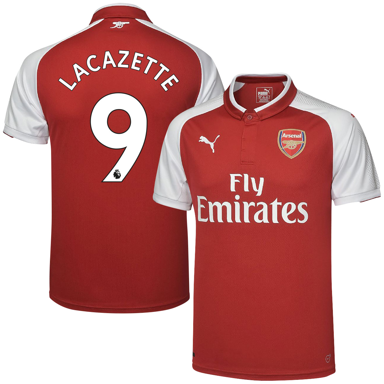 Arsenal Home Lacazette Jersey 2017 / 2018 (Authentic EPL Printing) - XL