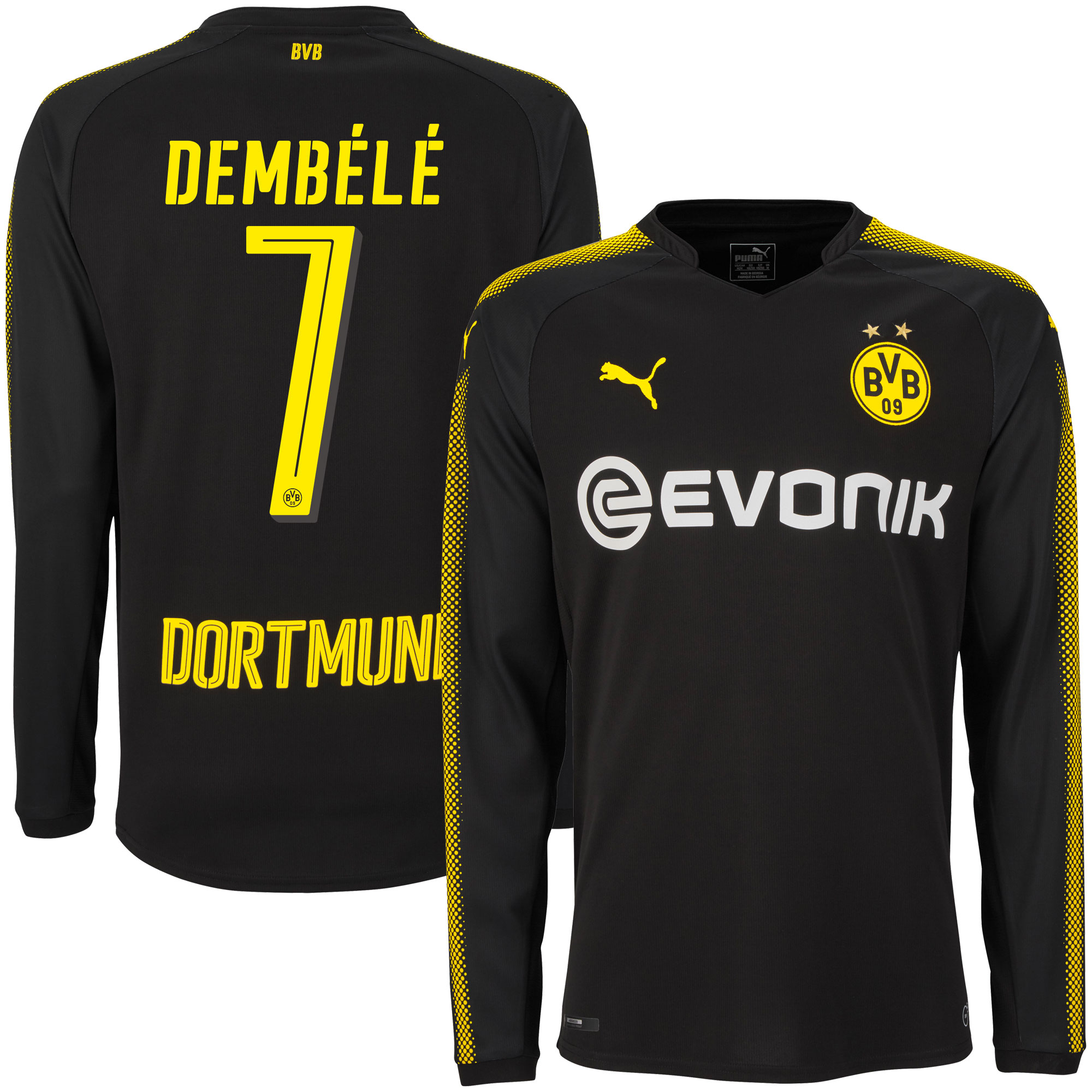 Borussia Dortmund Away L/S Dembélé Jersey 2017 / 2018 (Official Player Printing) - M