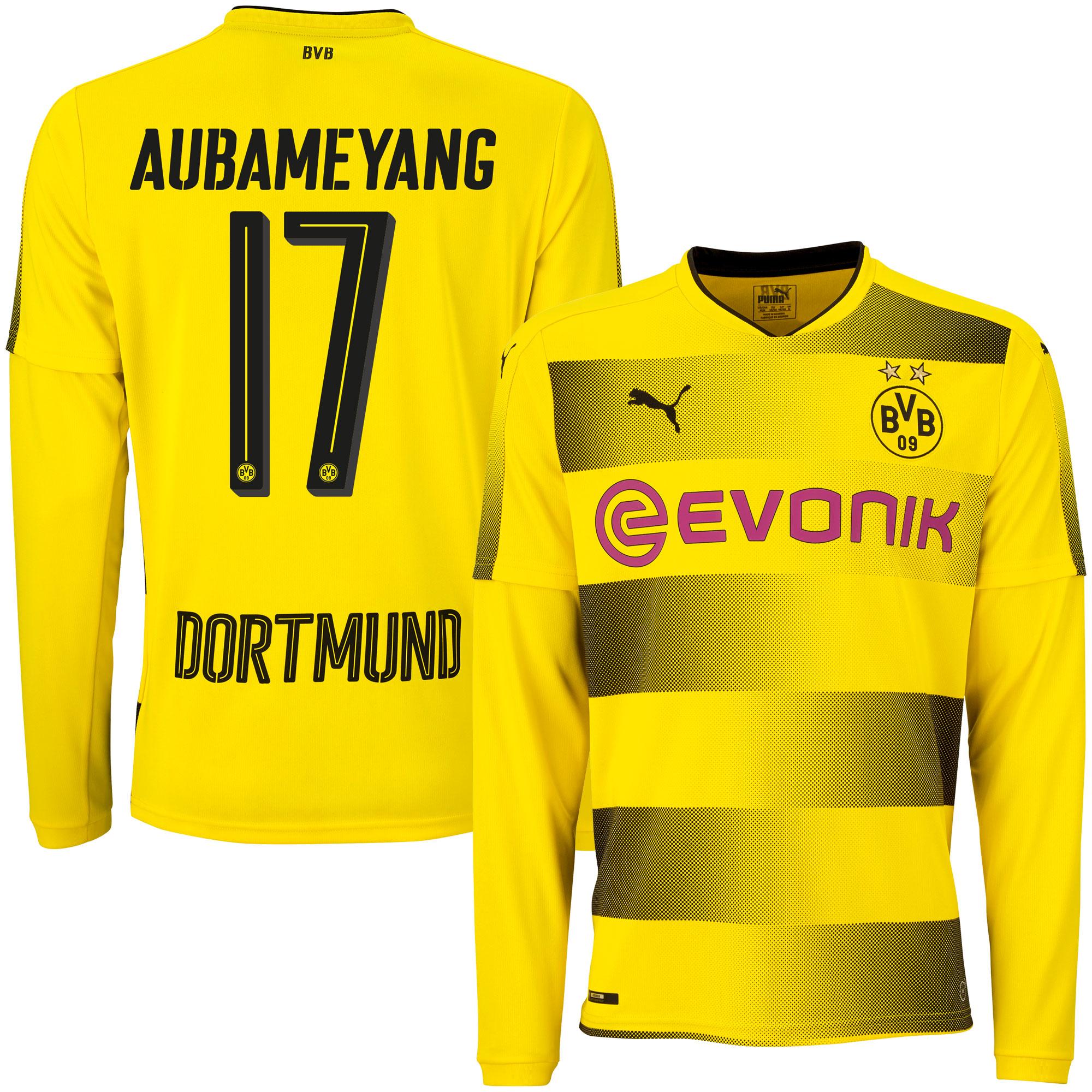 Borussia Dortmund Home L/S Aubameyang Jersey 2017 / 2018 - S