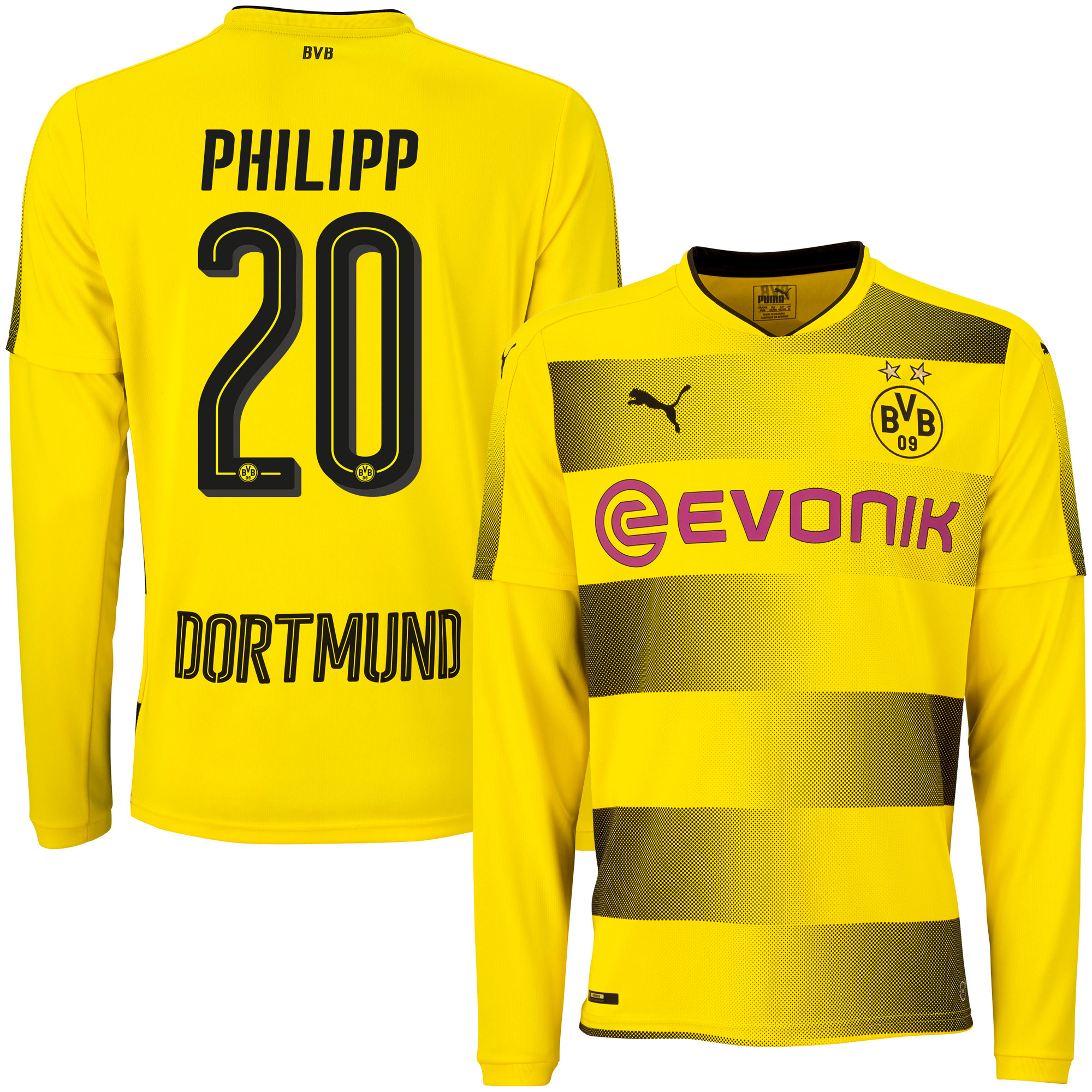 Borussia Dortmund Home L/S Phillip Jersey 2017 / 2018 (Official Player Printing) - XXL