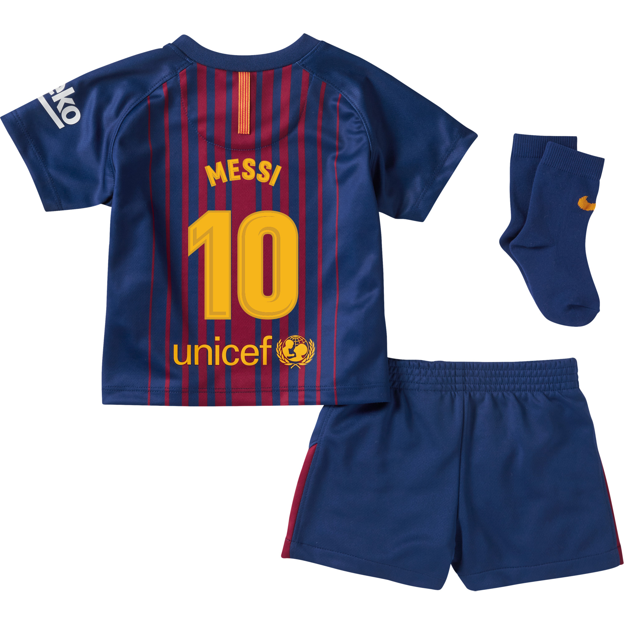 Barcelona Messi Home Infant Kit 2017 / 2018 (Fan Style Printing) - 12-18