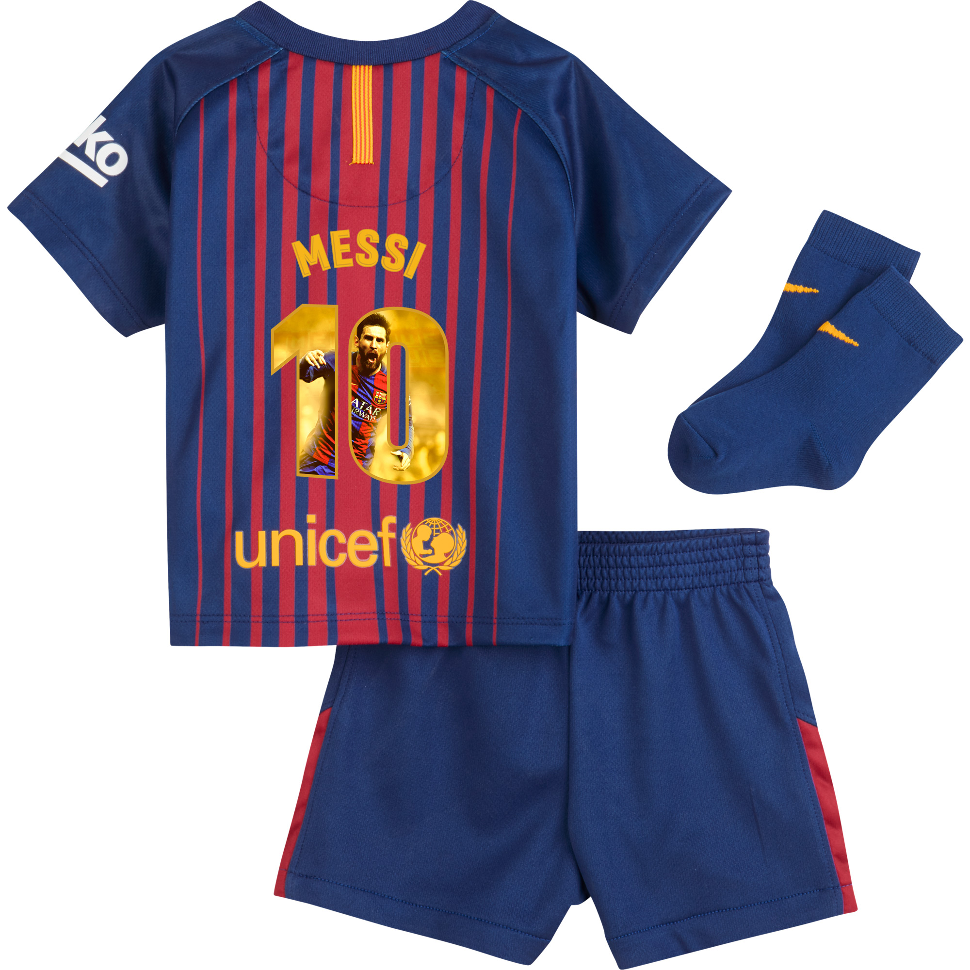 Barcelona Messi Home INFANTS Kit 2017 / 2018 (Gallery Style Printing) - 18-24
