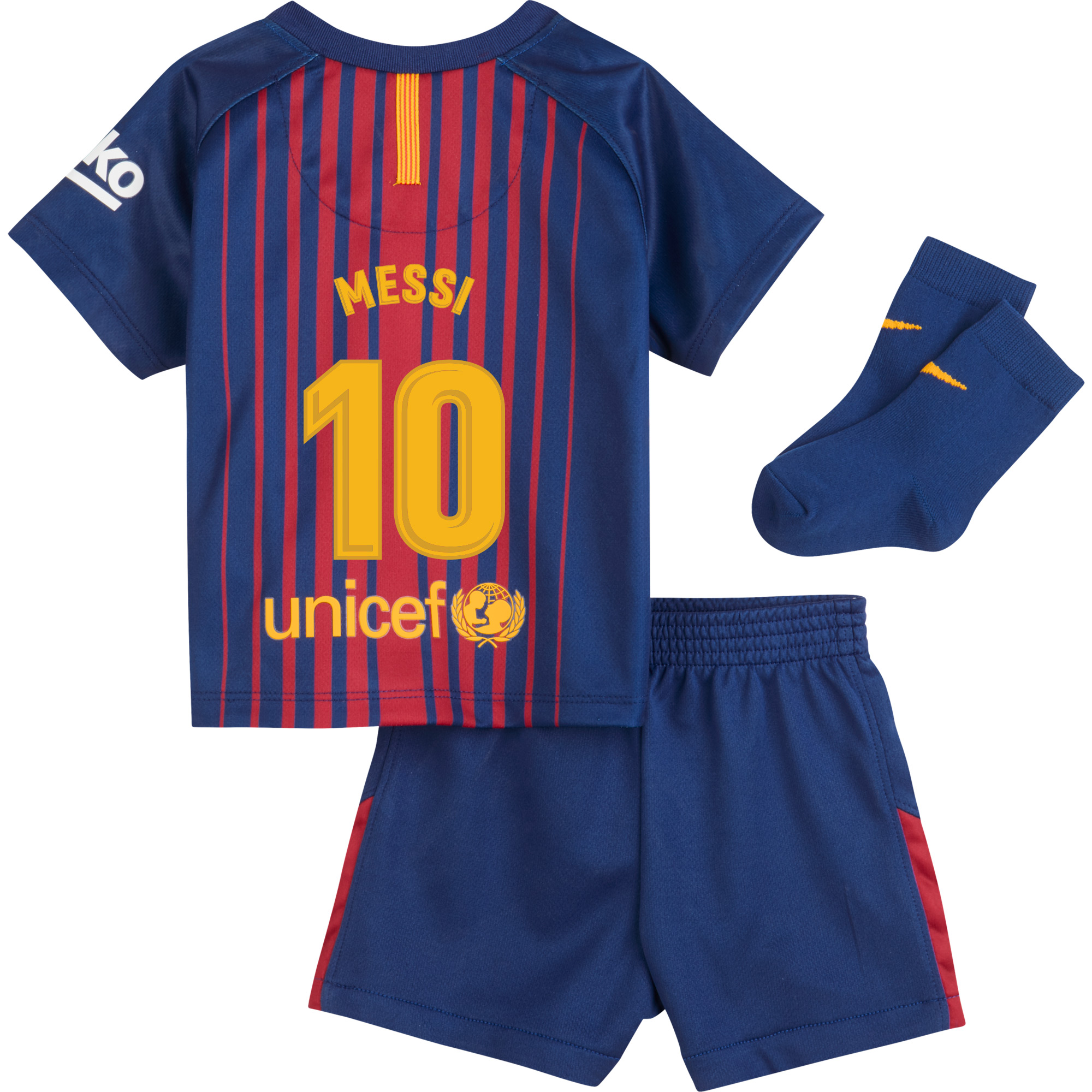 Barcelona Messi Home INFANTS Kit 2017 / 2018 (Fan Style Printing) - 18-24
