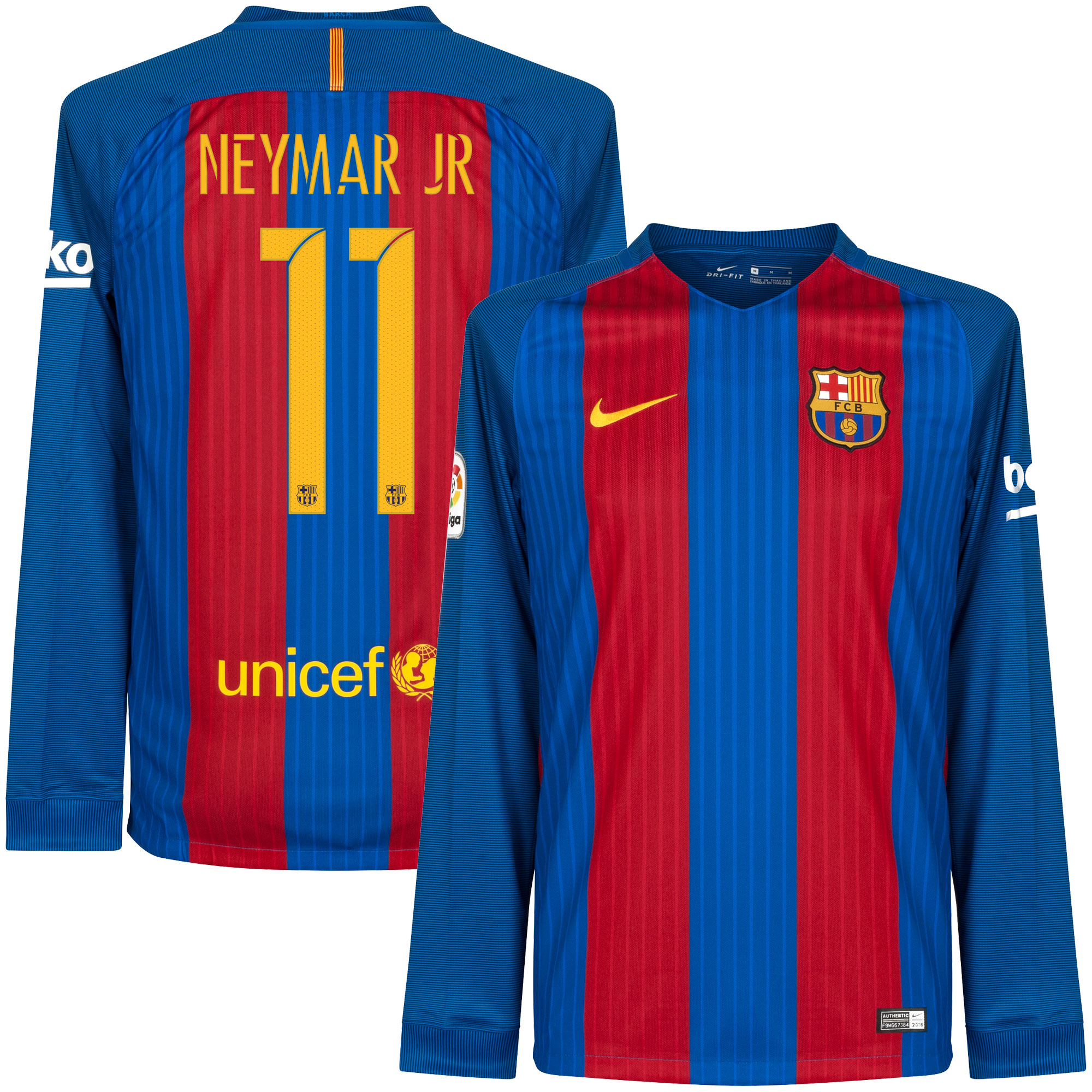 Barcelona Home L/S Neymar Jr Jersey 2016 / 2017 (Unsponsored - Official Printing) - L