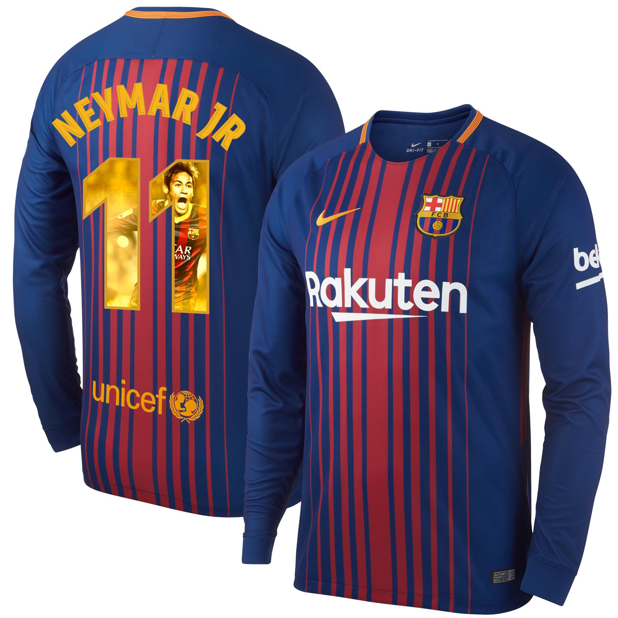 Barcelona Home L/S Neymar Jr Jersey 2017 / 2018 (Gallery Style Printing) - L