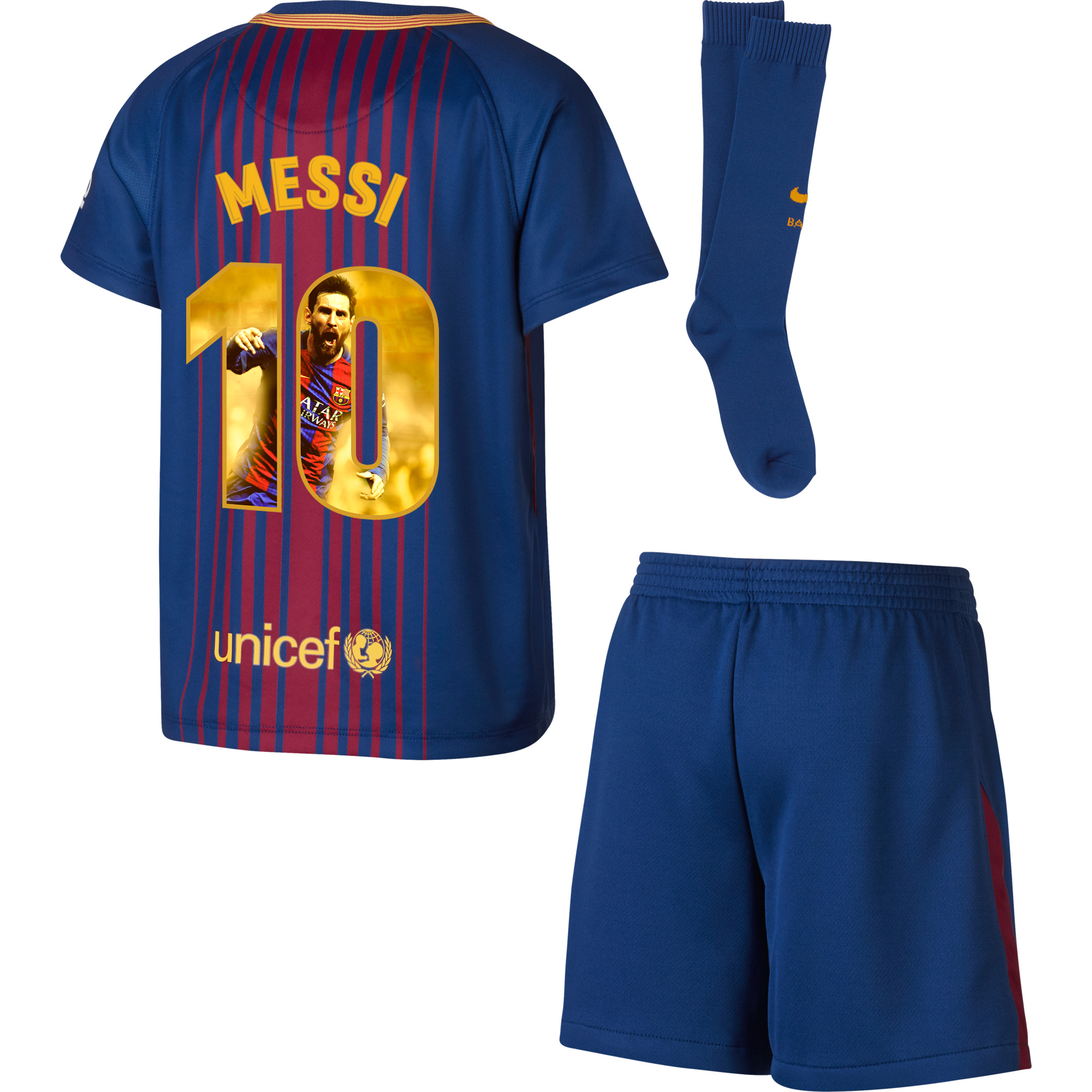 Barcelona Messi Home LITTLE KIDS Kit 2017 / 2018 (Gallery Style Printing) - 104-110