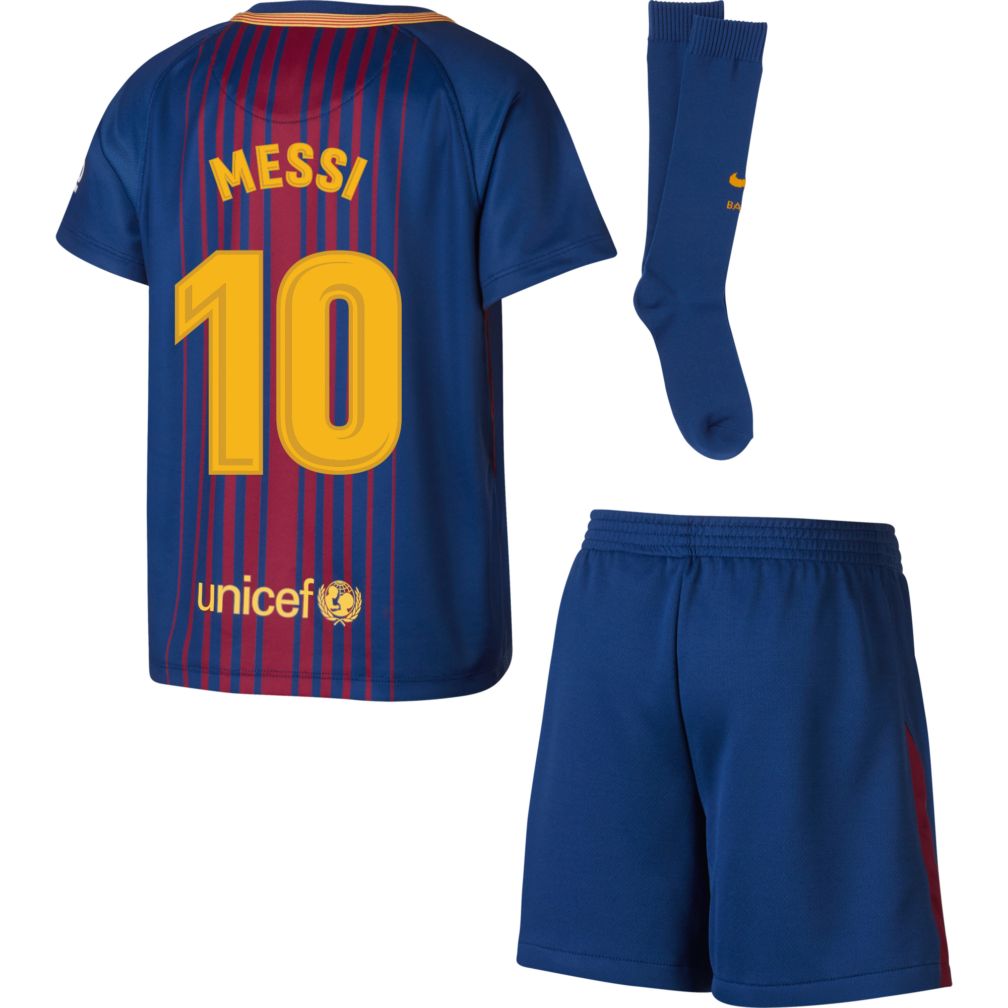Barcelona Messi Home LITTLE KIDS Kit 2017 / 2018 (Fan Style Printing) - 110-116