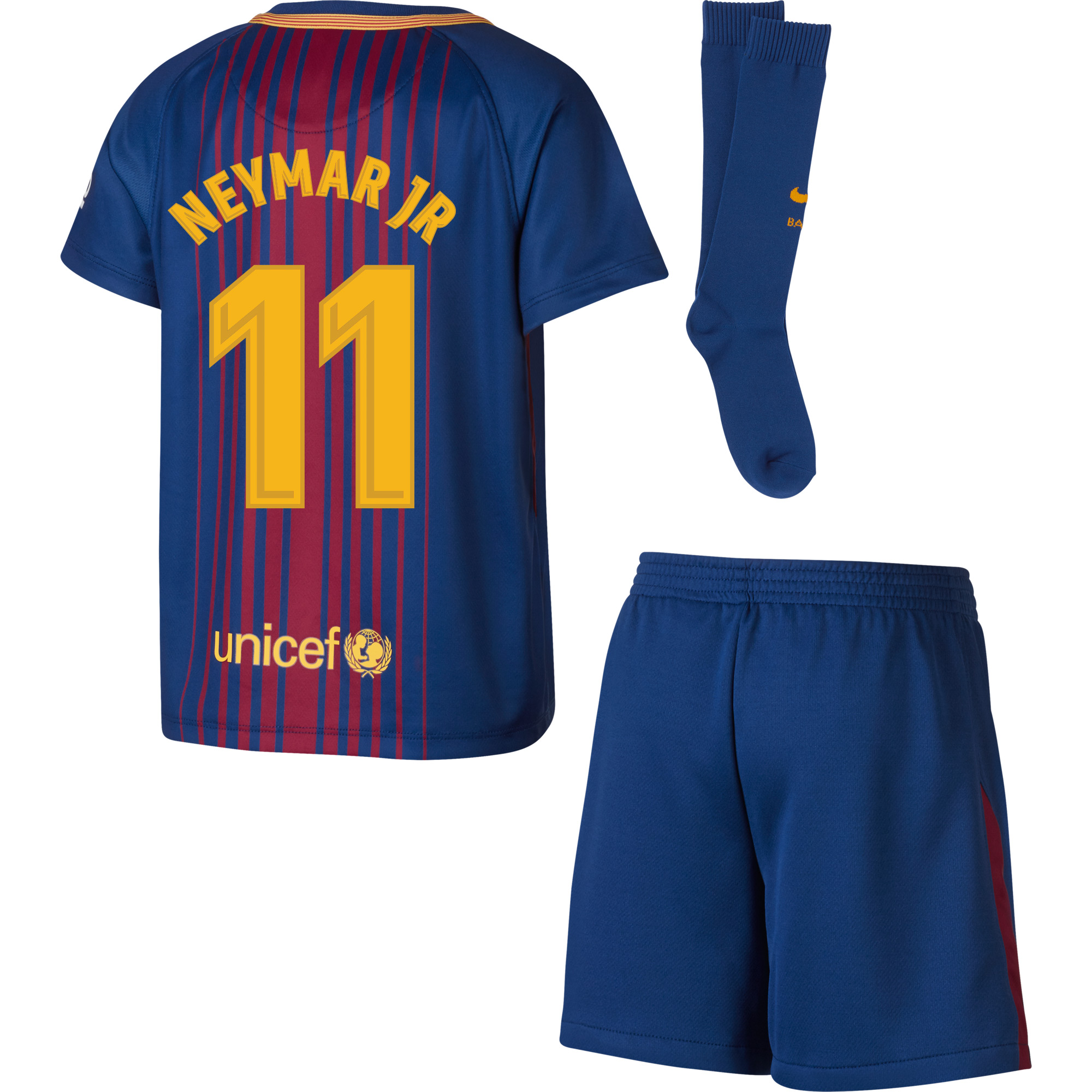 Barcelona Neymar Jr Home LITTLE KIDS Kit 2017 / 2018 (Fan Style Printing) - 110-116