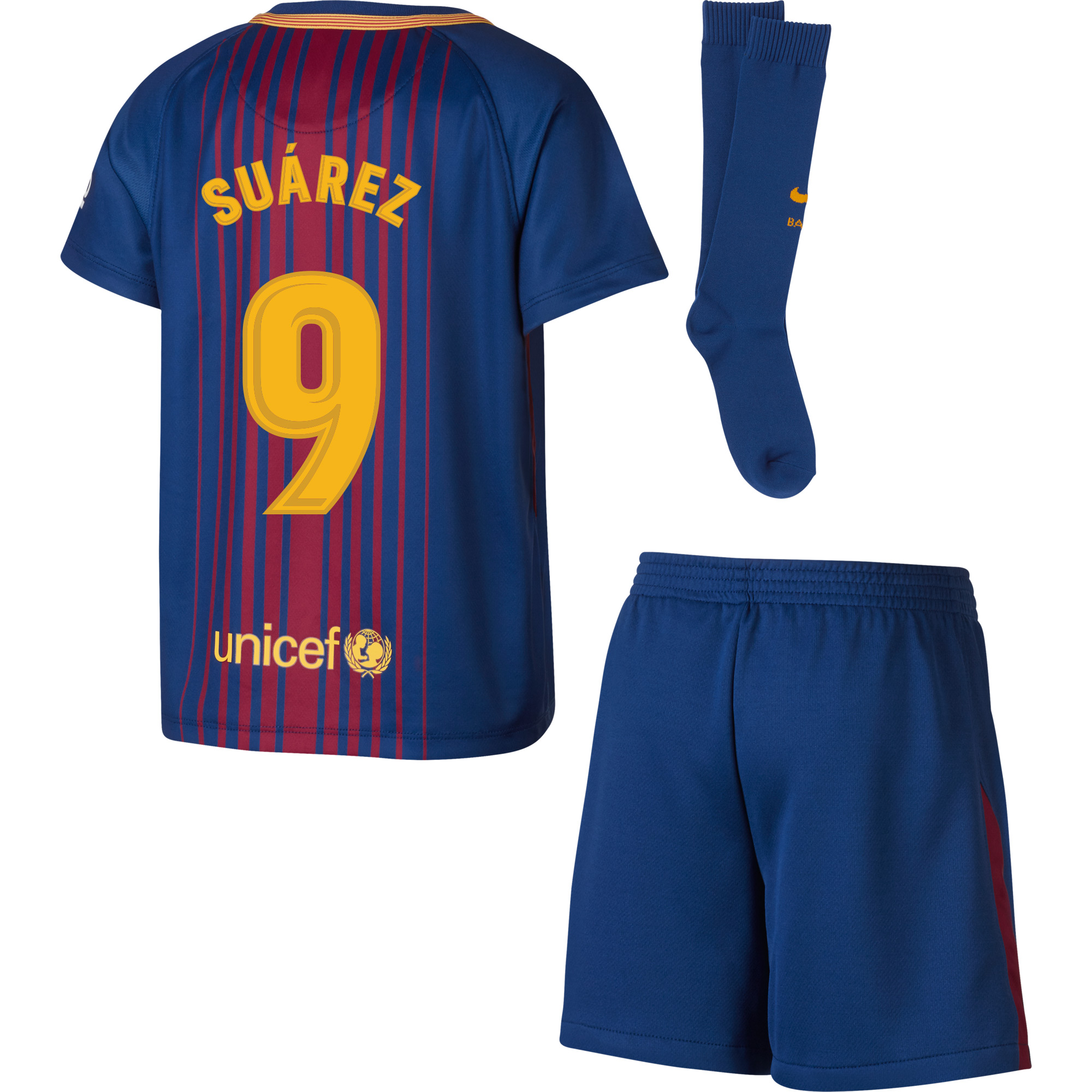 Barcelona Suarez Home LITTLE KIDS Kit 2017 / 2018 (Fan Style Printing) - 98-104