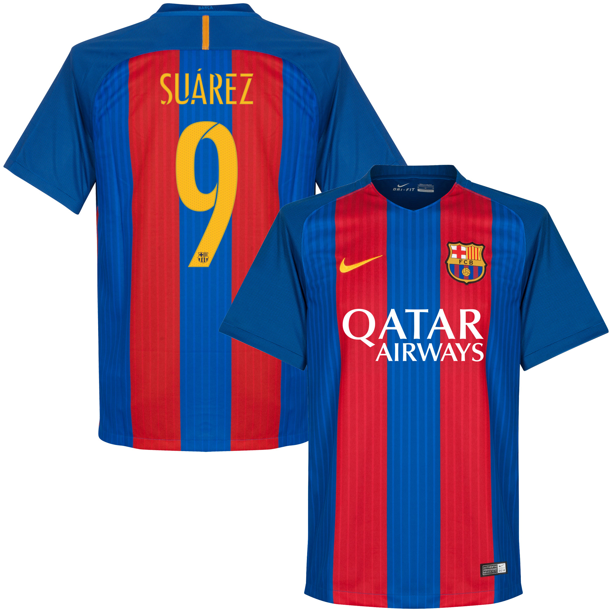 Barcelona Home Suárez European Jersey 2016 / 2017 (Official Player Printing) - M