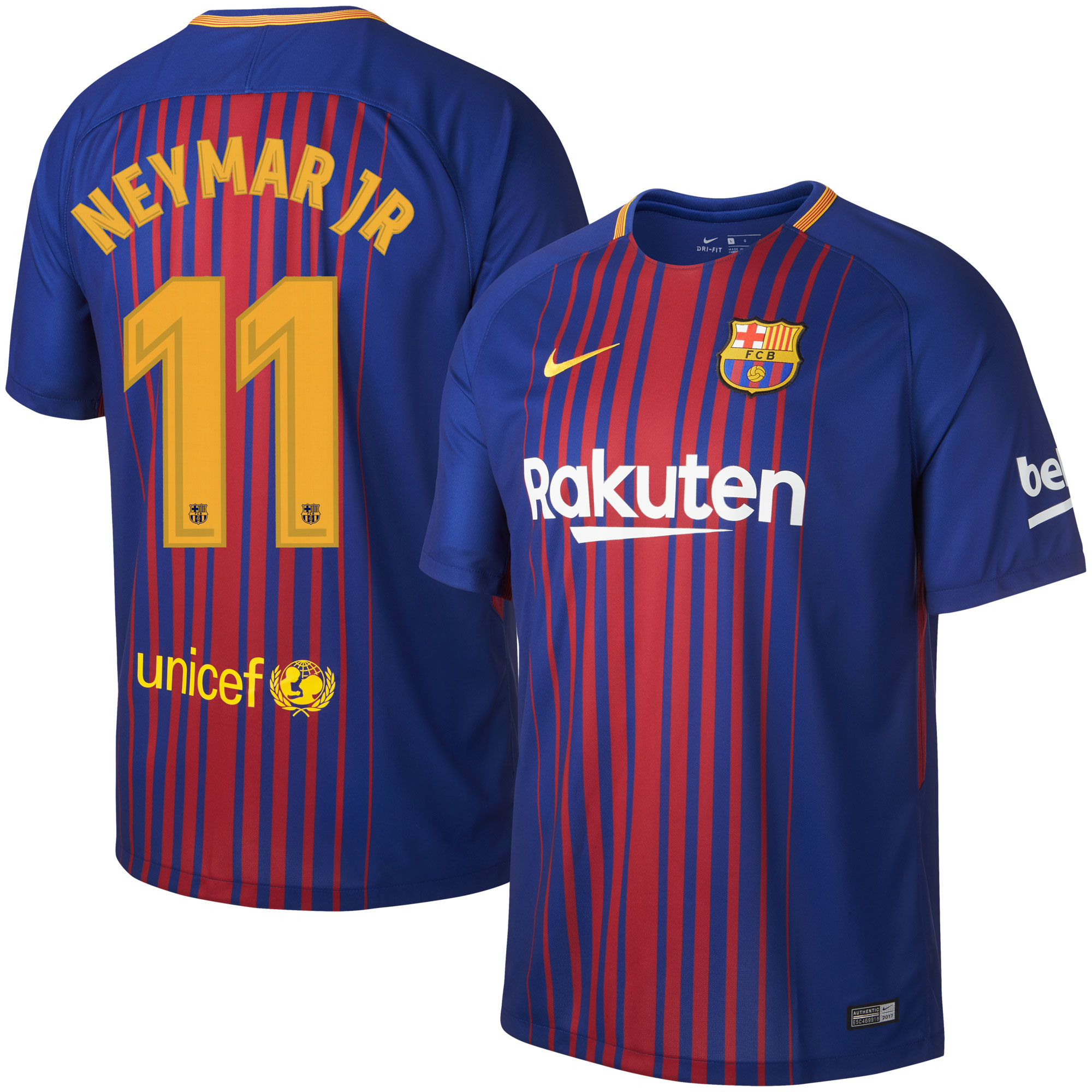 Barcelona Home Neymar Jr Jersey 2017 / 2018 (Official Printing) - L