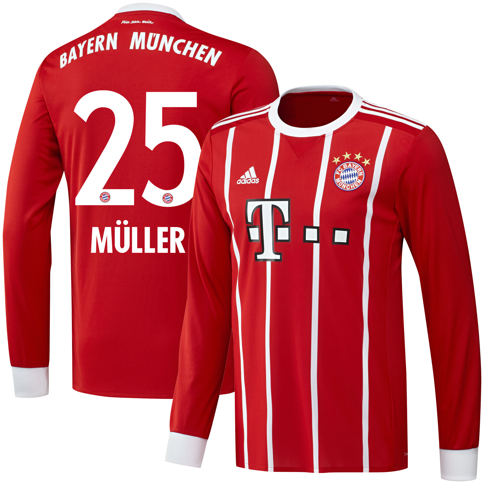 Bayern Munich Home L/S Müller Jersey 2017 / 2018 (Official Printing) - 58