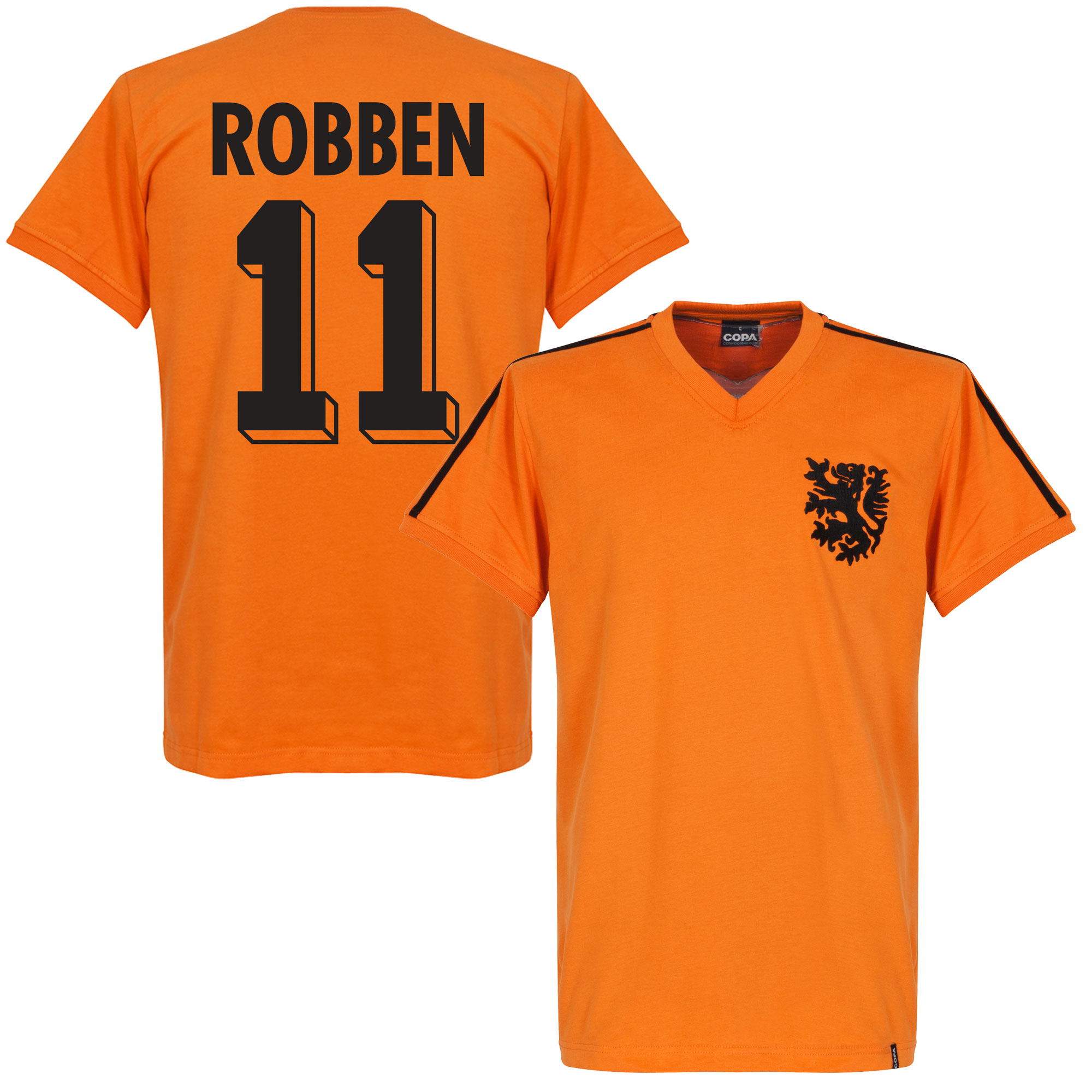 1974 Holland World Cup Home Retro Shirt + Robben 11 - S
