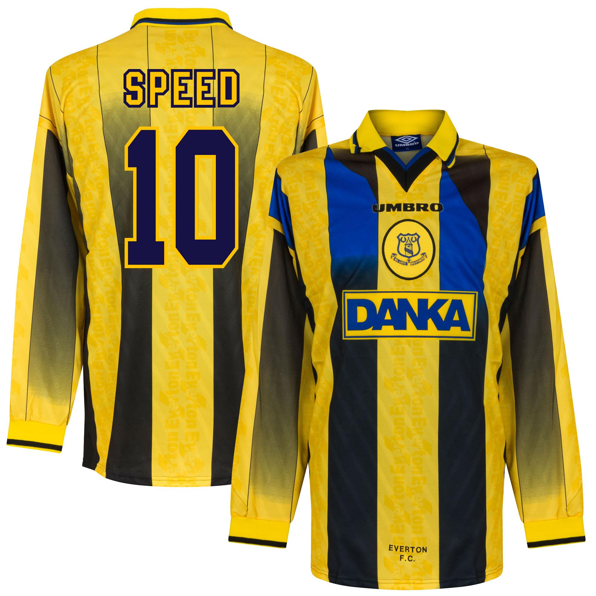 96-97 Everton Away L/S Players Jersey + Speed 10 - XL