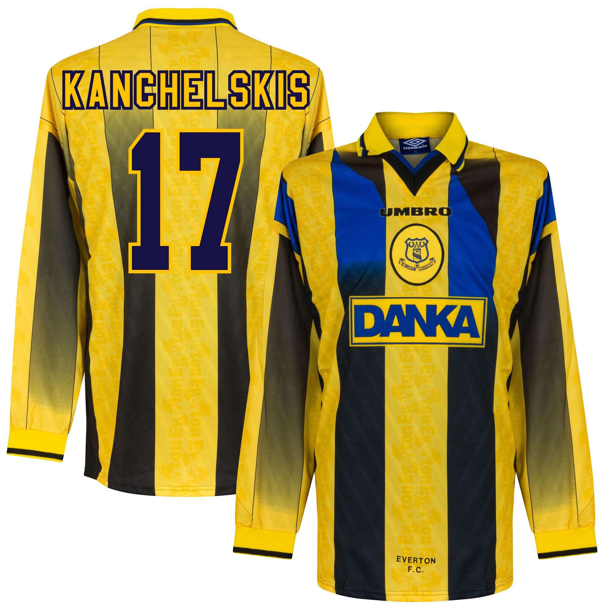 96-97 Everton Away L/S Players Jersey + Kanchelskis 17 - XL