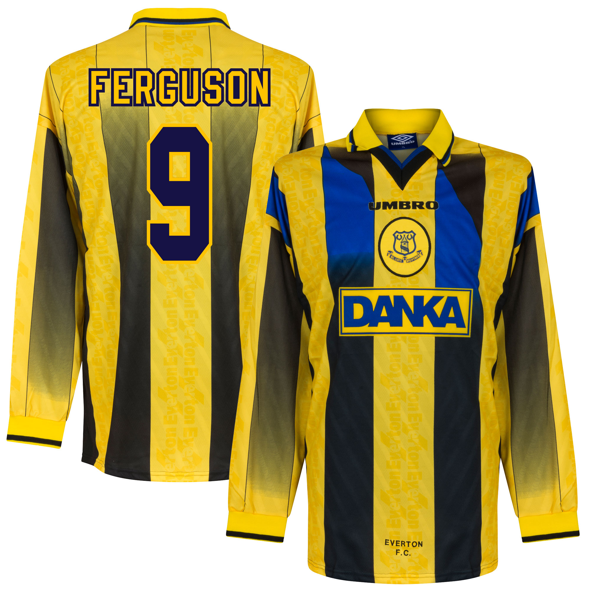 96-97 Everton Away L/S Players Jersey + Ferguson 9 - XL
