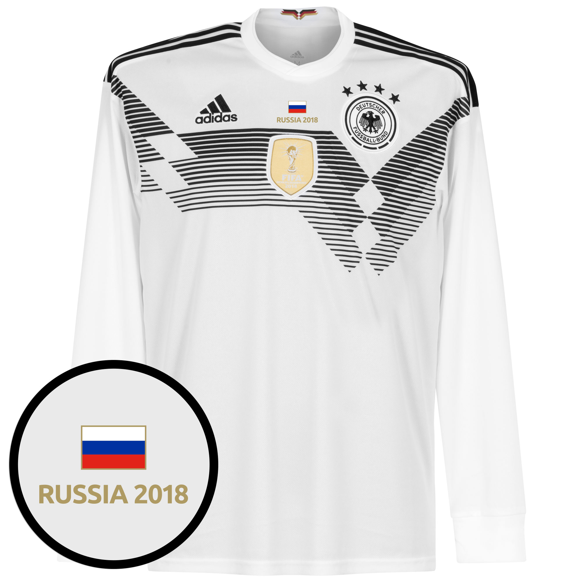 Germany World Cup Home L/S Shirt 2018 inc FREE Russia 2018 Tournament Transfer