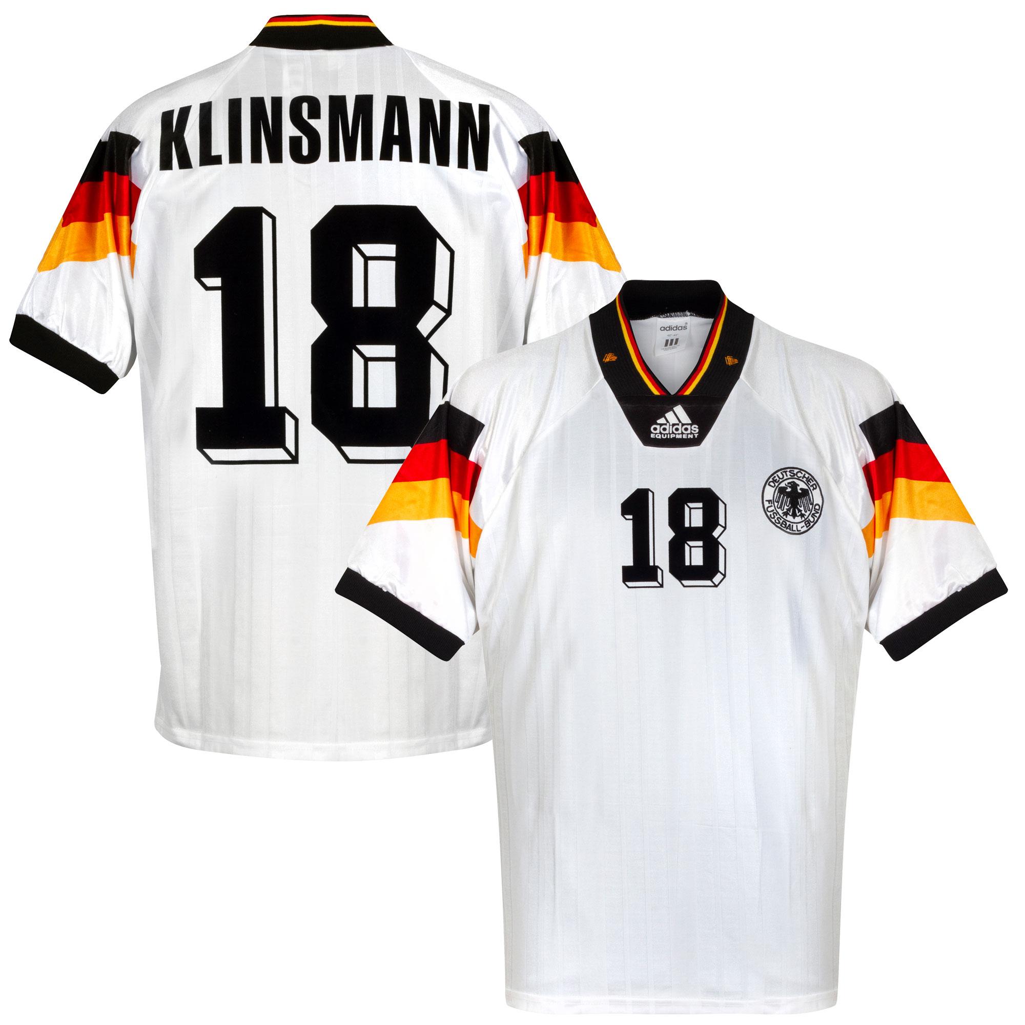 adidas Germany 1992-1994 Home Klinsmann 18 Shirt - USED Condition (Good) - Size L
