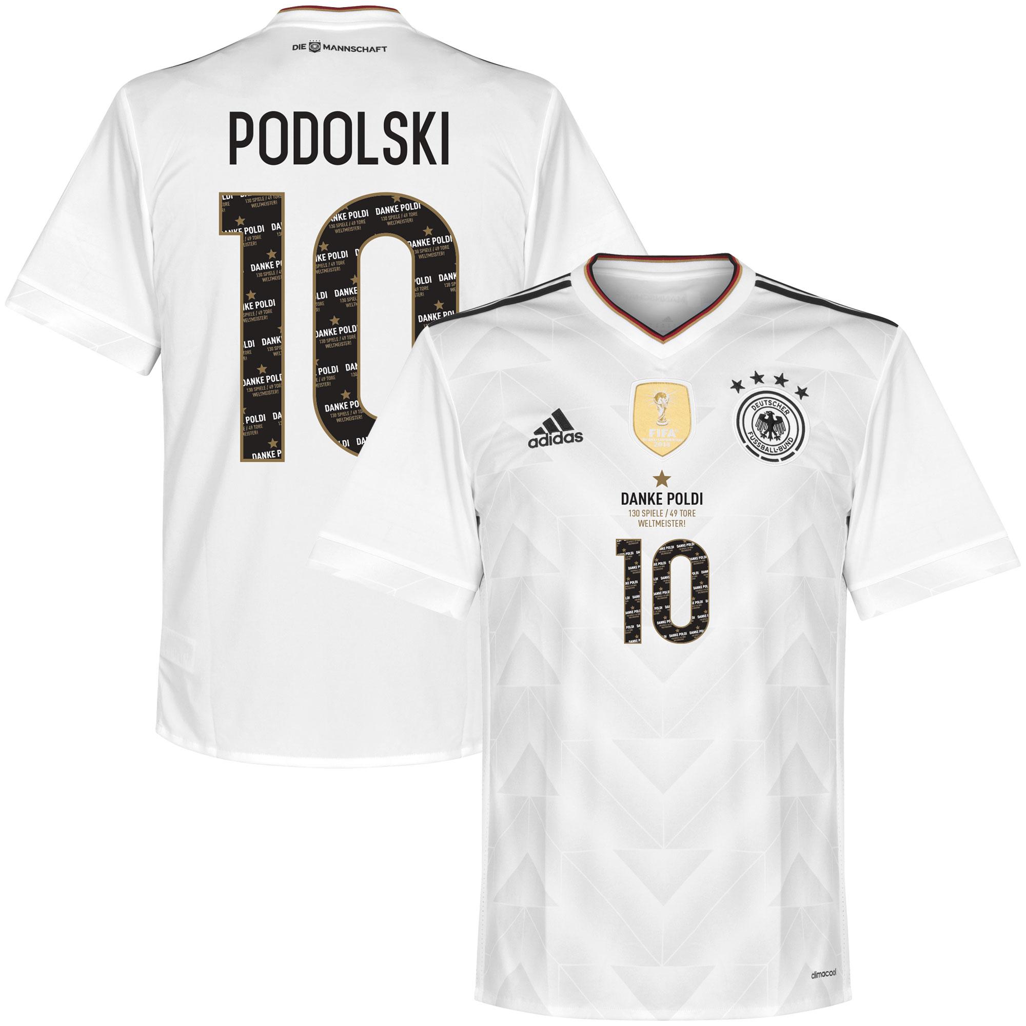 Duitsland Shirt Thuis 2017 + Danke Podolski Legend Bedrukking