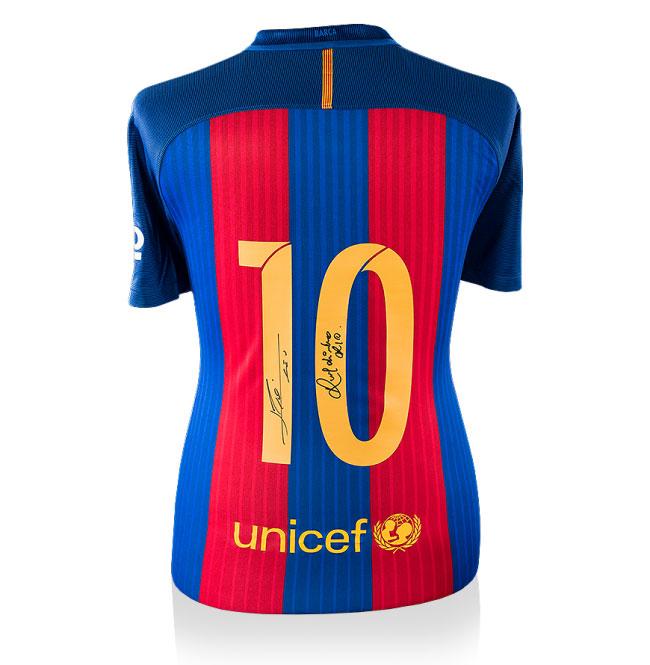 Messi & Ronaldinho Dual Signed Barcelona 16-17 Home Shirt (Back Signed)