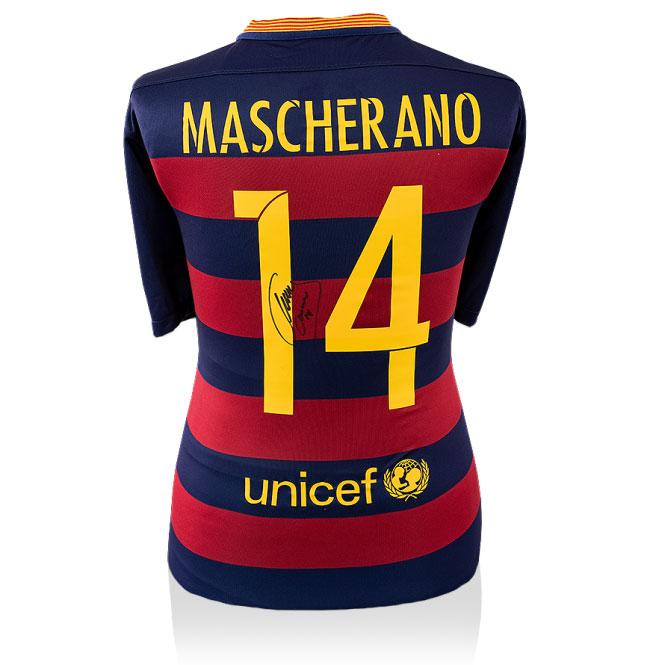 Javier Mascherano Signed 2015-2016 Barcelona Home Shirt (Back Signed)