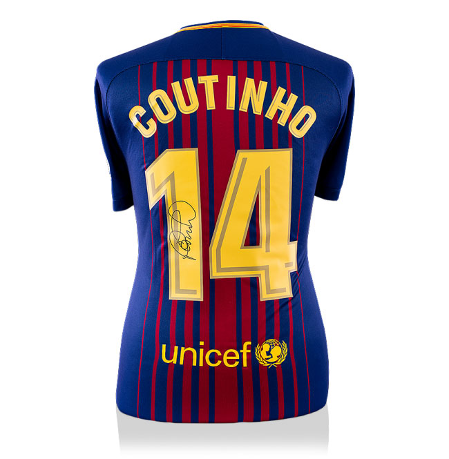 Philippe Coutinho Signed Barcelona 17-18 Home Shirt (Back Signed)