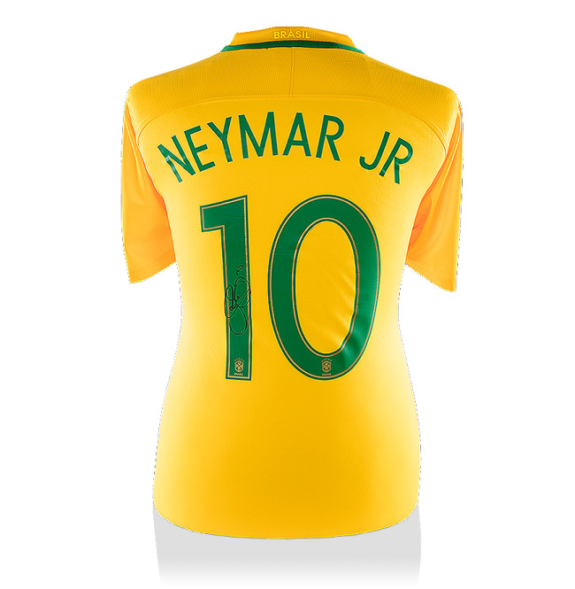 Neymar Jr Back-Signed Brazil Home Jersey 2016 / 2017 (Official Printing) - OS