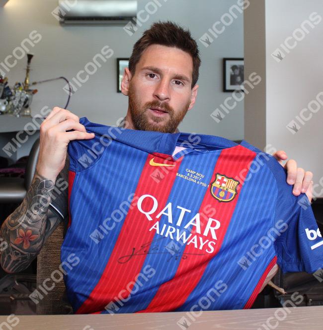 Lionel Messi Front-Signed Barcelona Home Jersey 2016 / 2017 + Barca v PSG 6-1 Transfer - OS