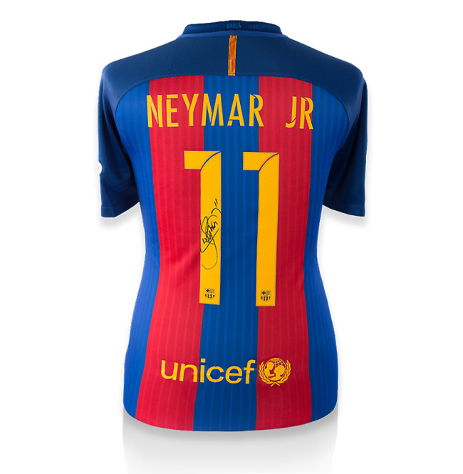 Neymar Jr Back-Signed Barcelona Home Jersey 2016 / 2017 (Official Printing) - OS