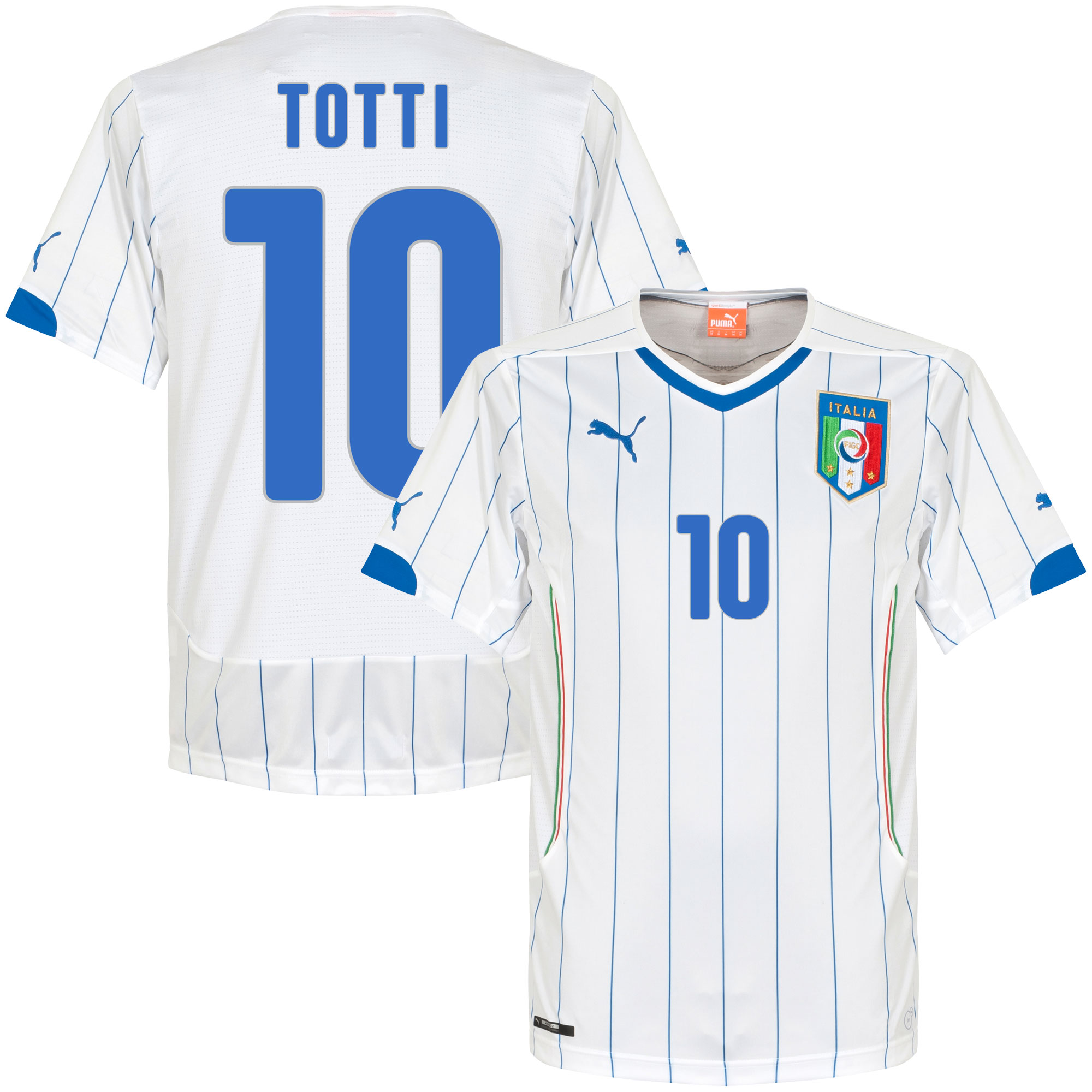 Italy Away Totti Jersey 2014 / 2015 (Fan Style Printing) - S