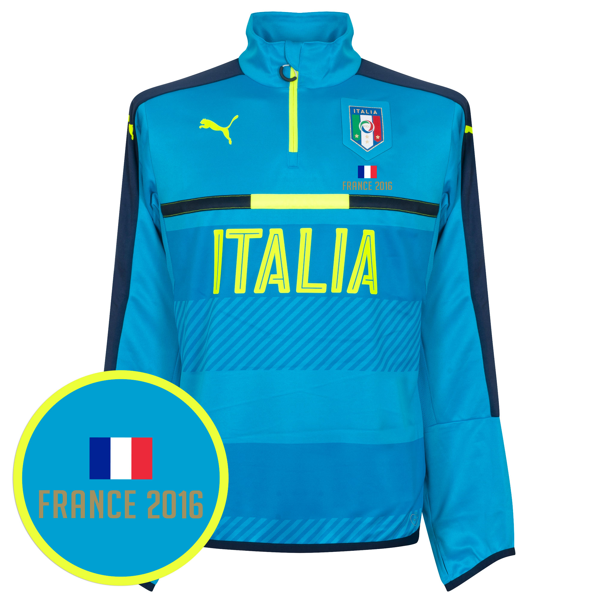 Italy 1/4 Zip Training Top - Sky + FREE France 2016 Transfer - L