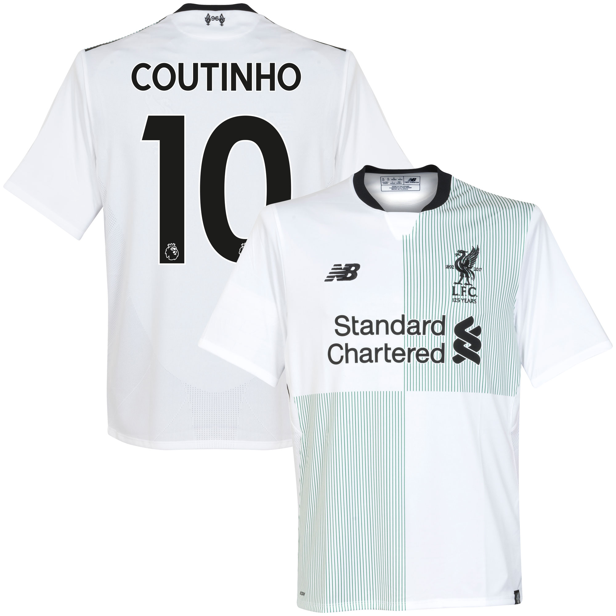 Liverpool Away Coutinho Jersey 2017 / 2018 (Authentic EPL Printing) - L