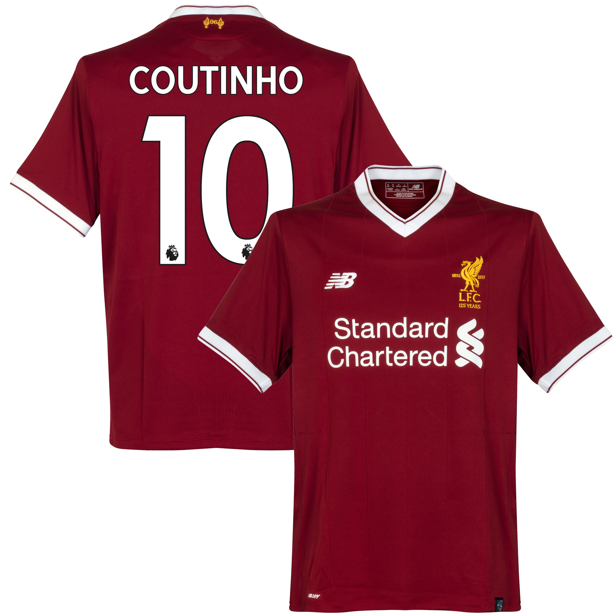 Liverpool Home Coutinho Jersey 2017 / 2018 (Authentic EPL Printing) - M