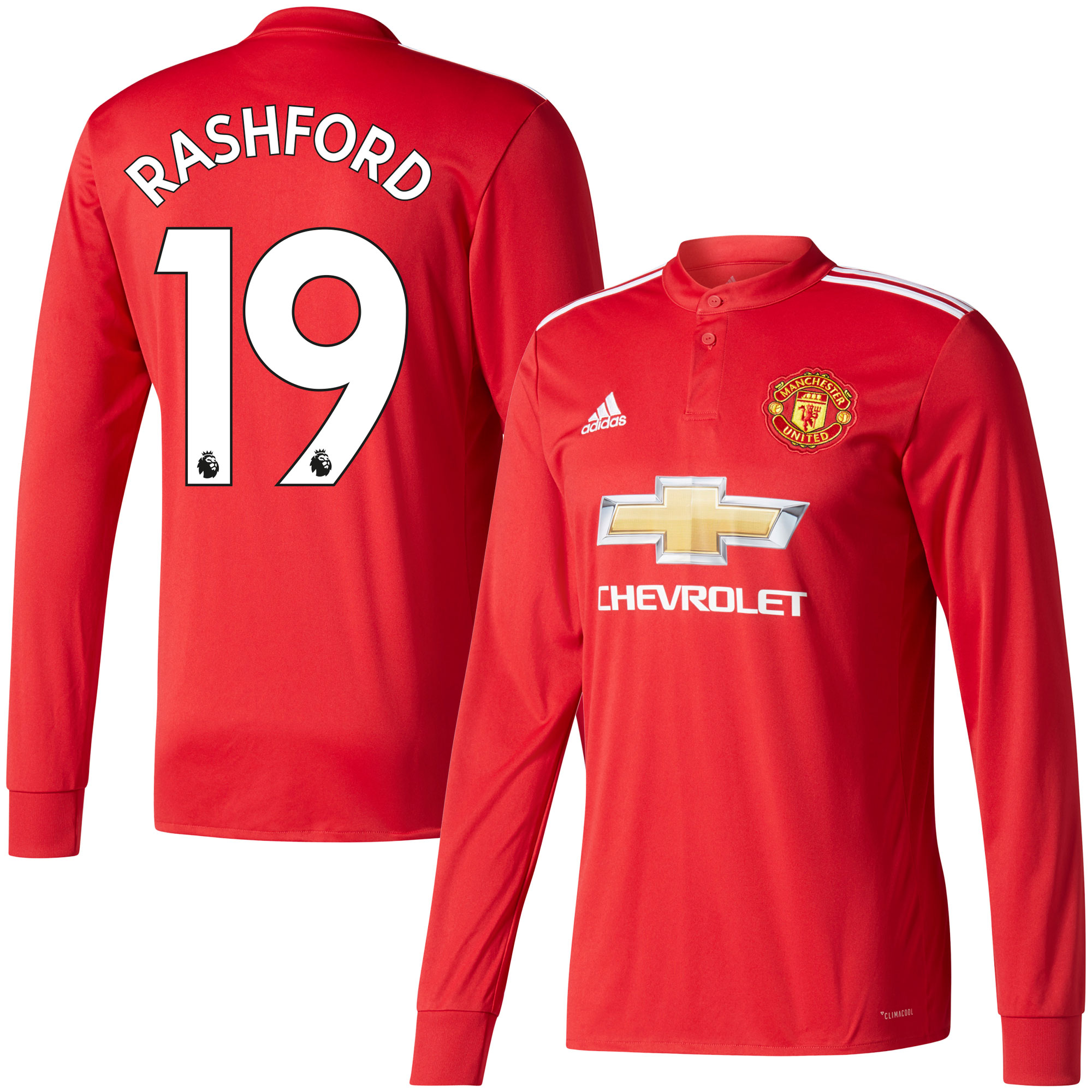 Manchester United Home L/S Rashford Jersey 2017 / 2018 (Authentic EPL Printing) - 62