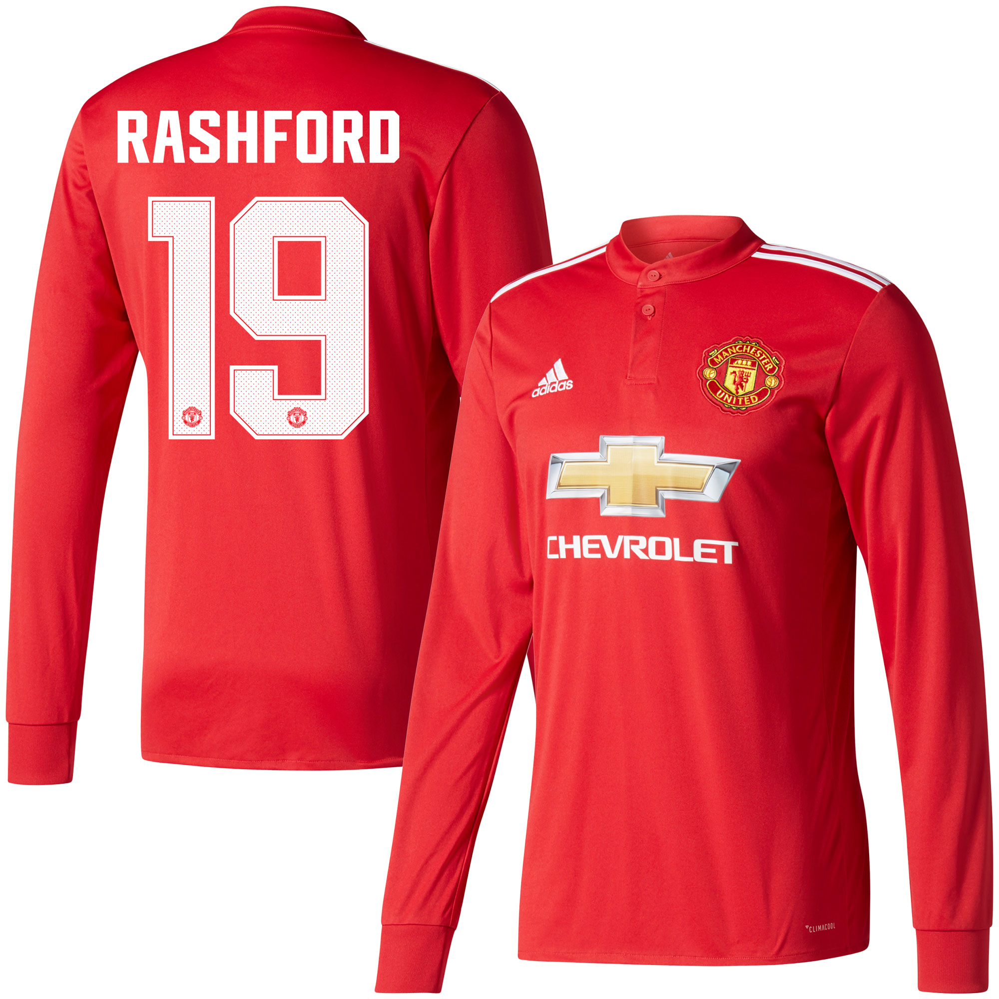 Manchester United Home L/S Rashford Jersey 2017 / 2018 (Cup Style Printing) - 50