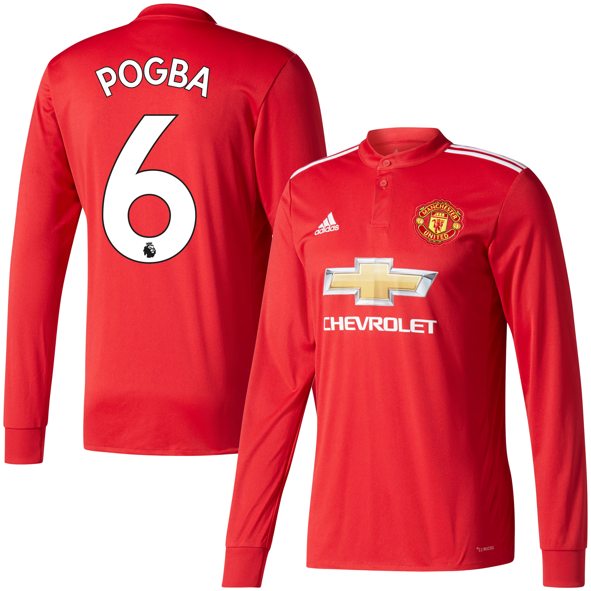 Manchester United Home L/S Pogba Jersey 2017 / 2018 (Authentic EPL Printing) - 50