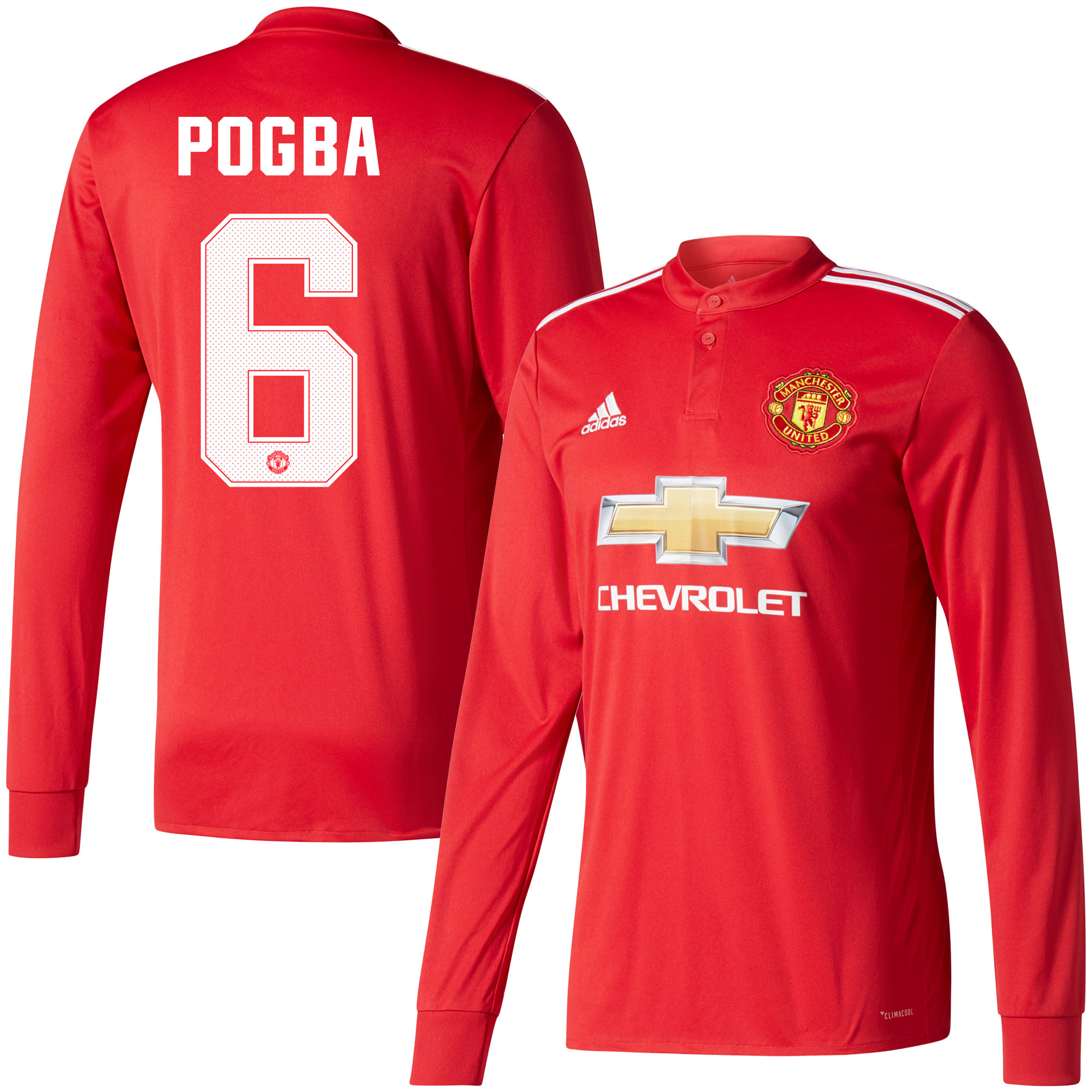 Manchester United Home L/S Pogba Jersey 2017 / 2018 (Cup Style Printing) - 50