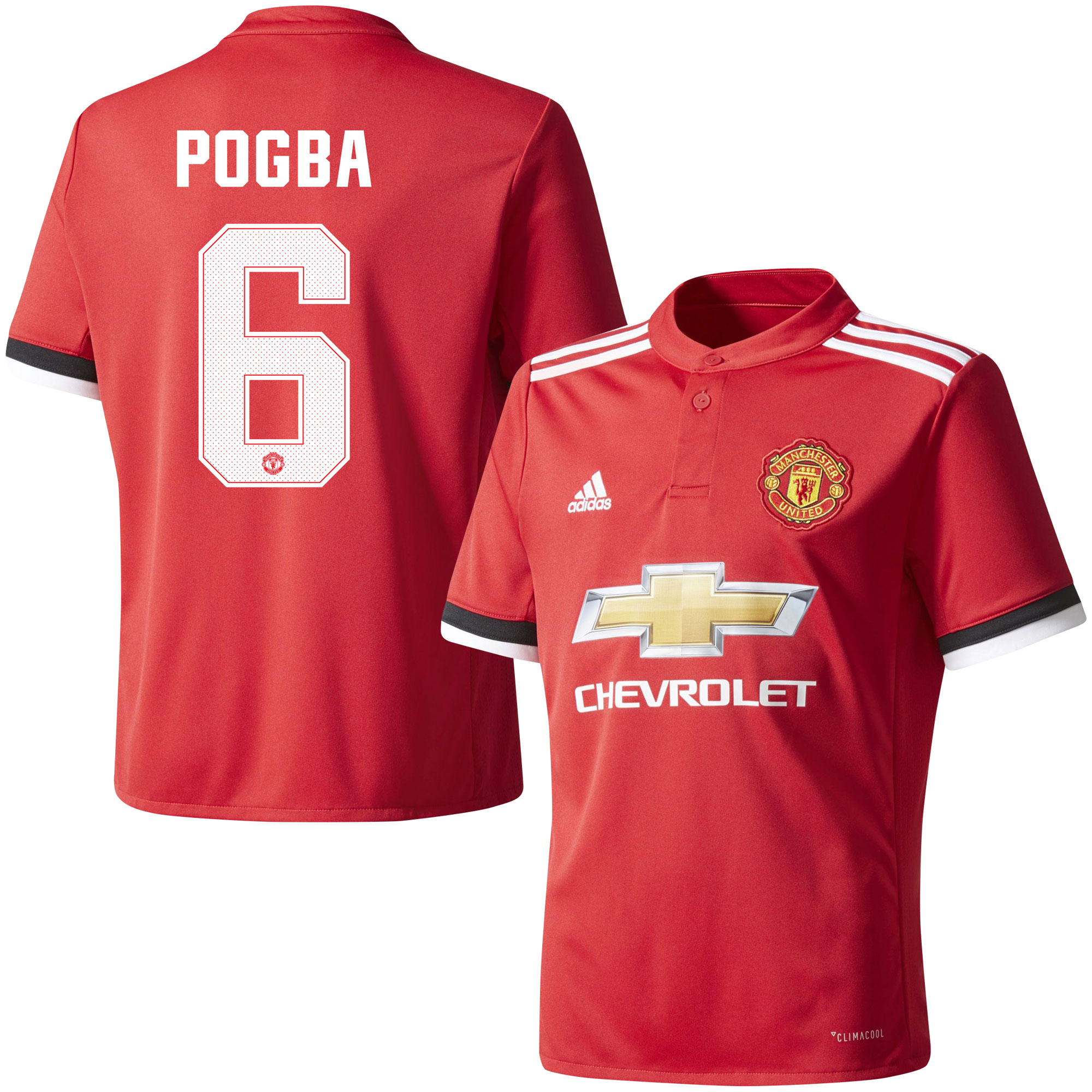 Manchester United Home Pogba Jersey 2017 / 2018 (Official Cup Printing) - 42