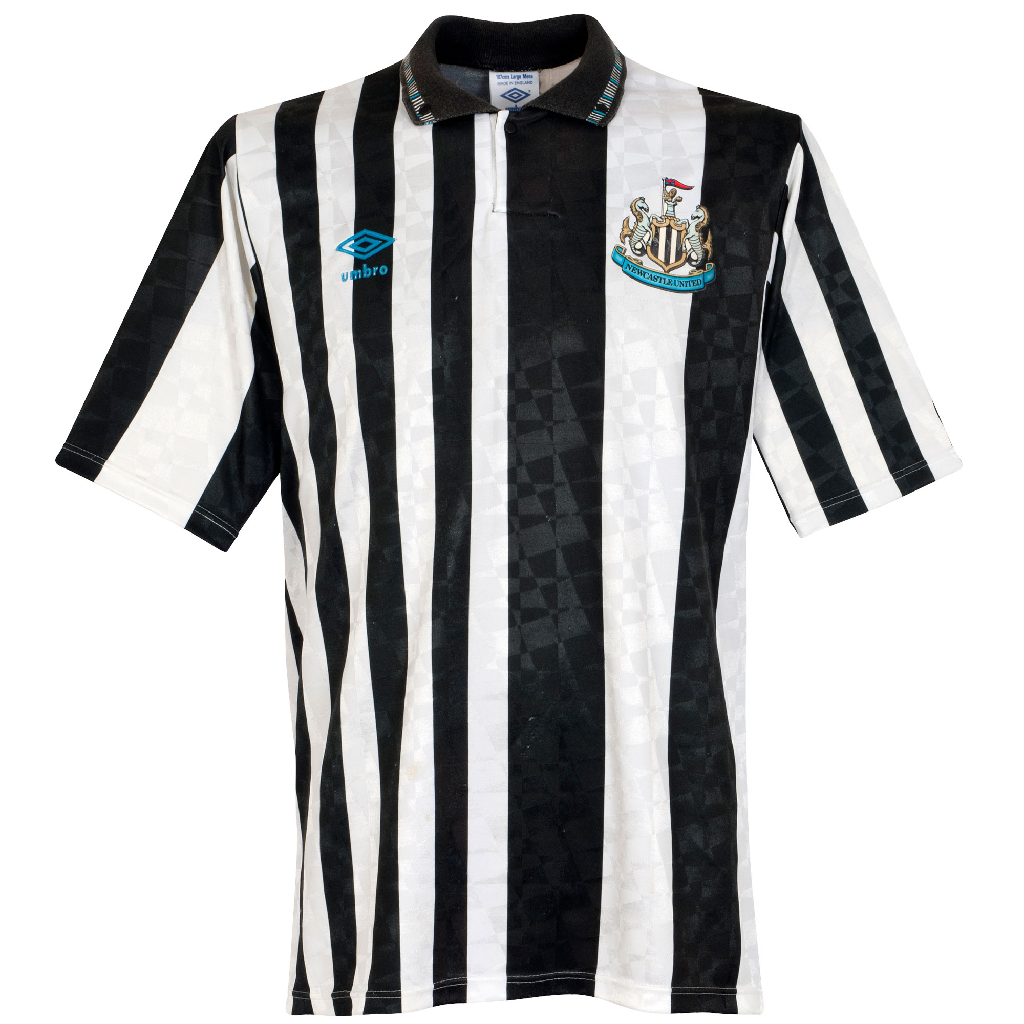 Umbro Newcastle United 1991-1992 Home Shirt - USED Condition (Fair) - Size Large