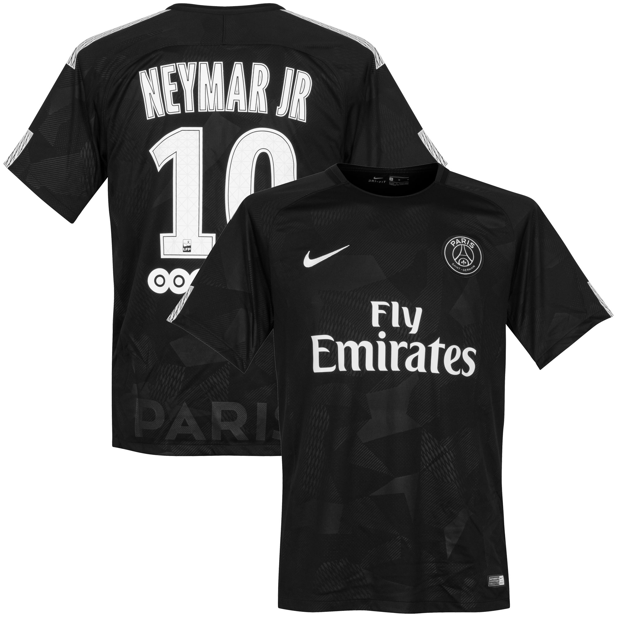 PSG 3rd Neymar Jr Jersey 2017 / 2018 + Sponsor (Official Player Printing) - XL
