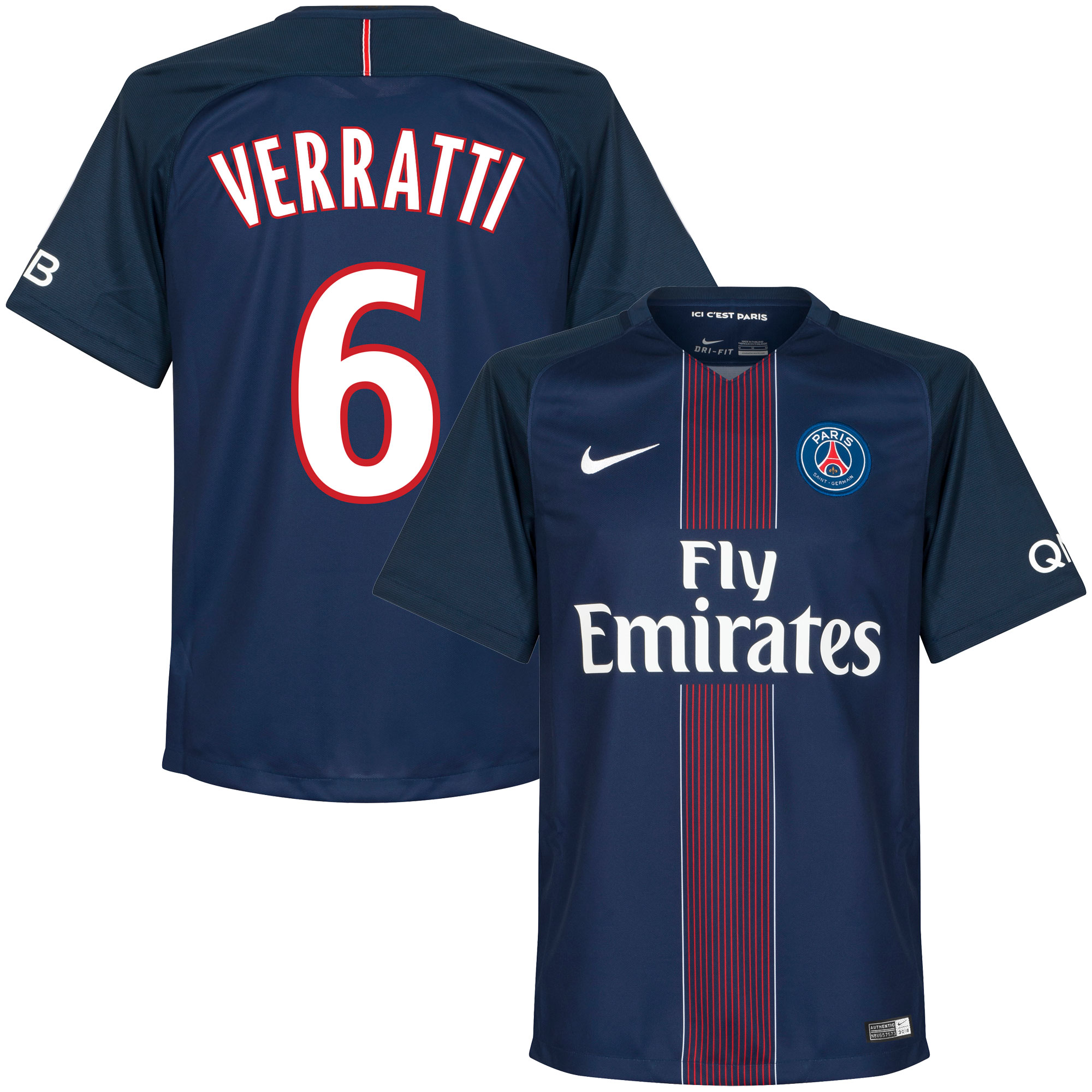 PSG Home Verratti Jersey 2016 / 2017 (Fan Style Printing) - XL